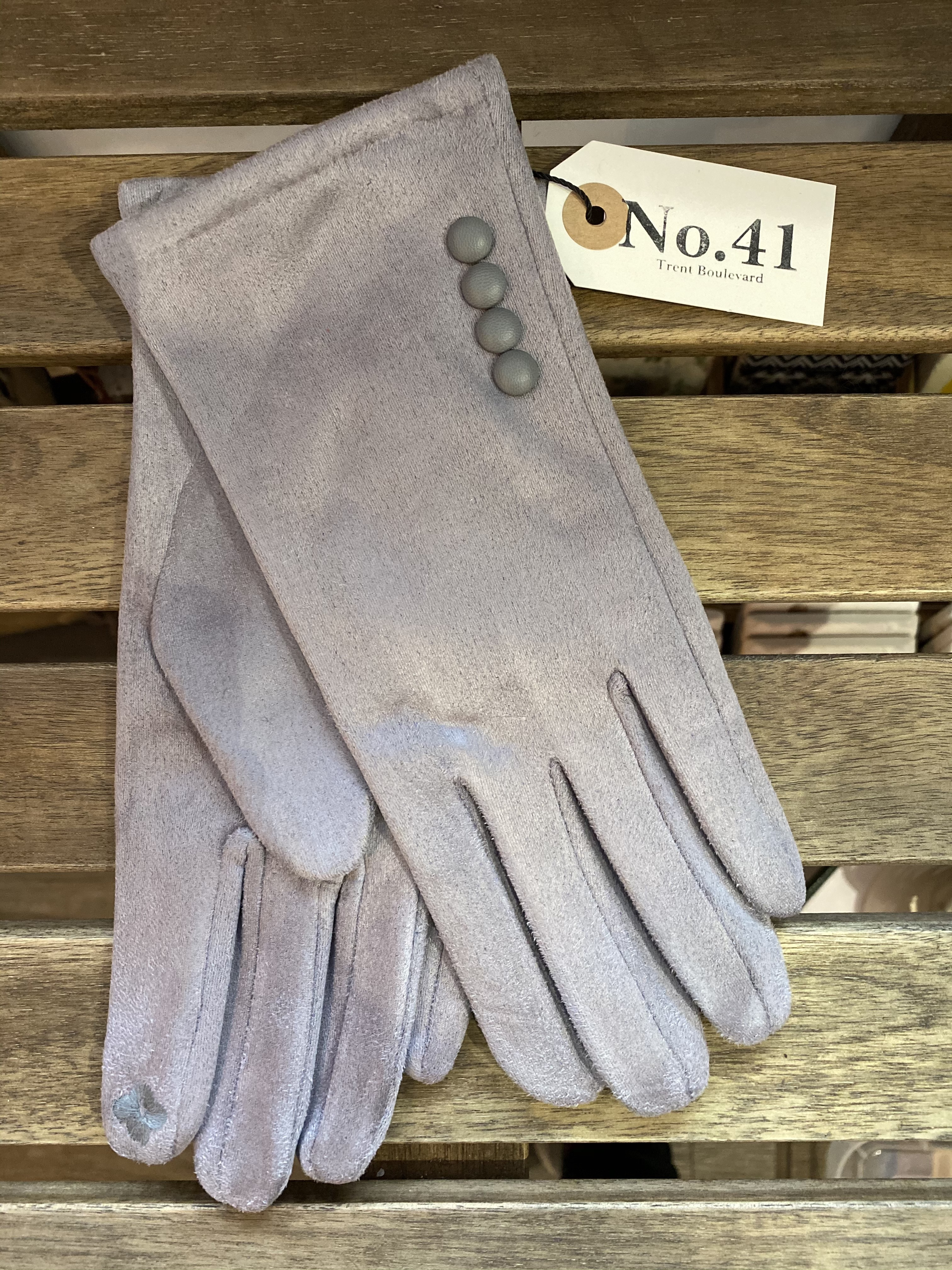 Gloves Light Grey With Buttons