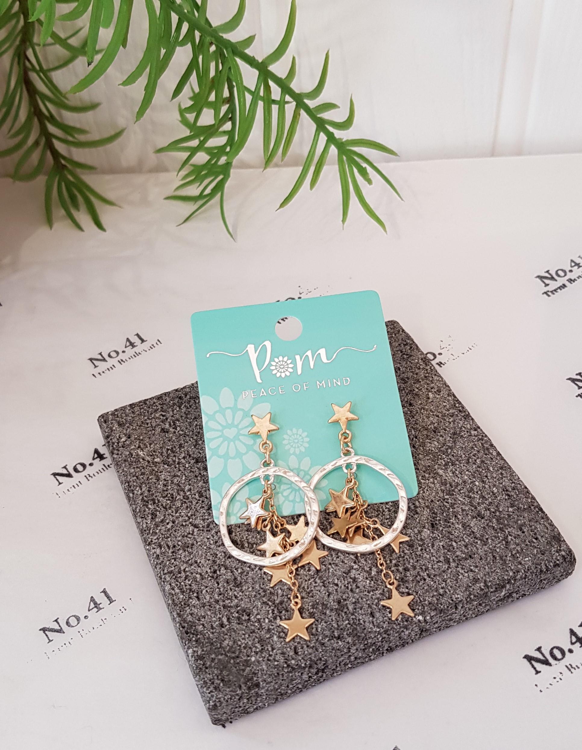 Earrings Multi Star On Hoop