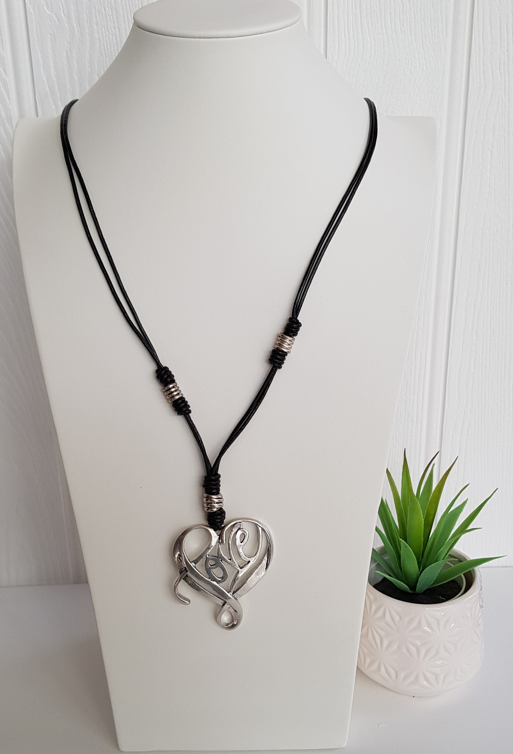 Necklace Love Heart On Long Leather Cord