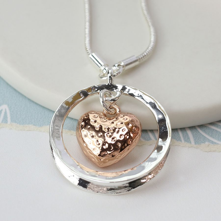 Necklace (Pom) Rose Gold Plated Heart In Circle