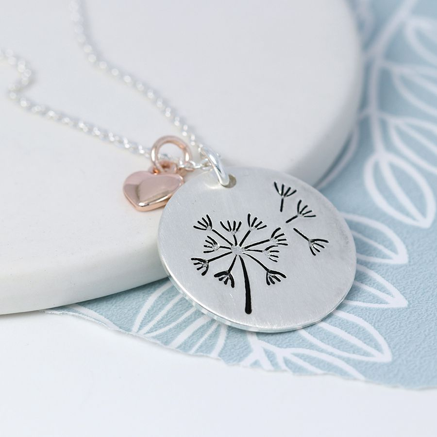 Necklace Silver Plated Dandelion Disc