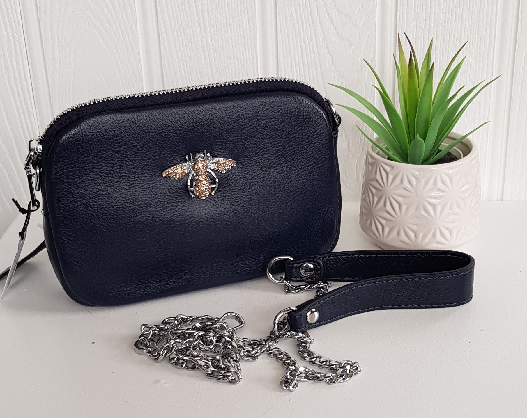 Bag - Black Leather Small Bag With Crystal Bee