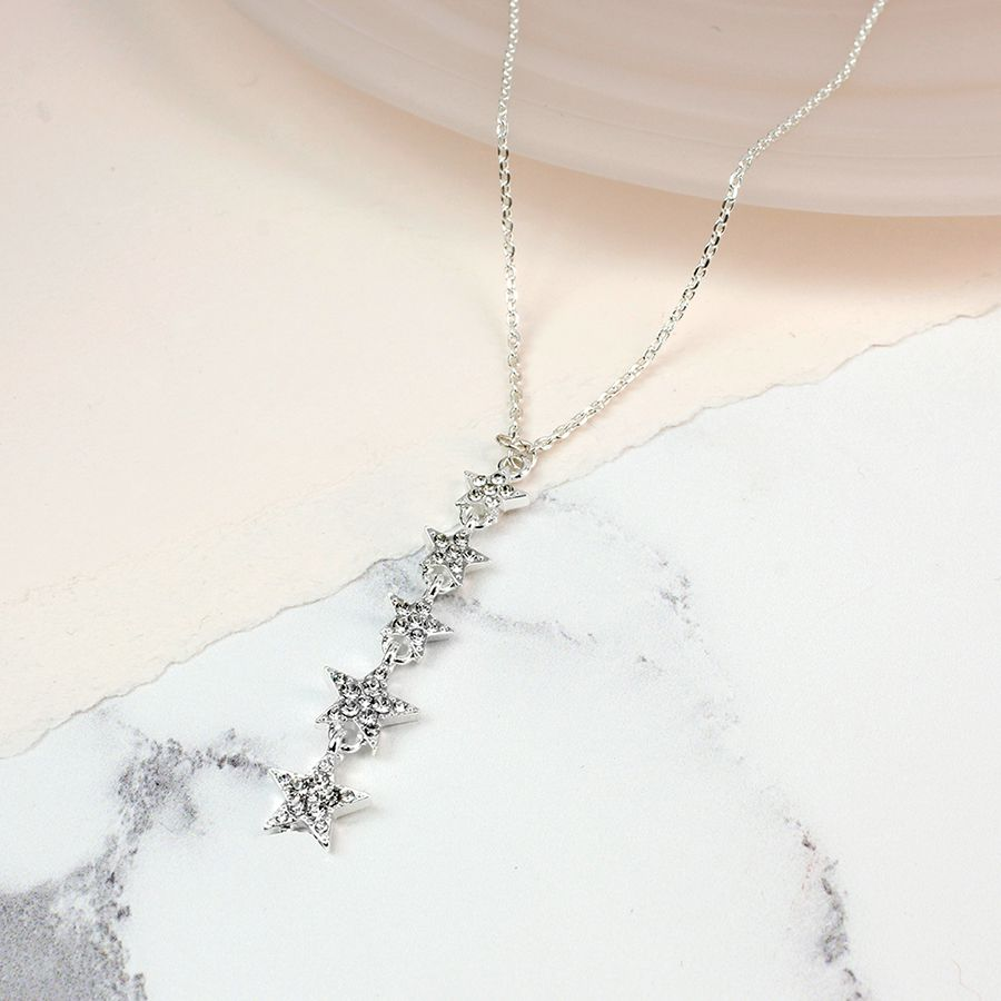 Necklace Silver Plated Crystal Multi Star Drop