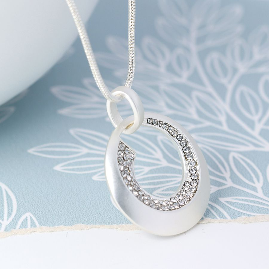 Necklace Silver Plated Circle Crystal SALE Now £15.00