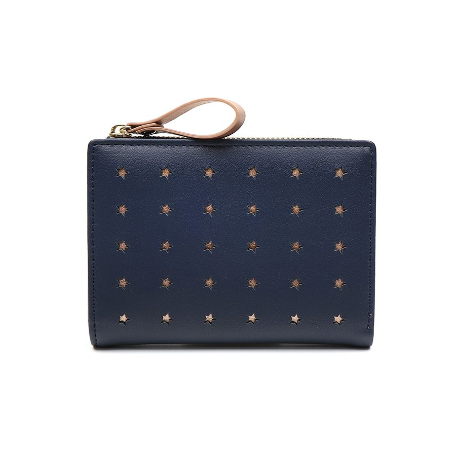 Purse Compact Navy with Rose Gold Stars