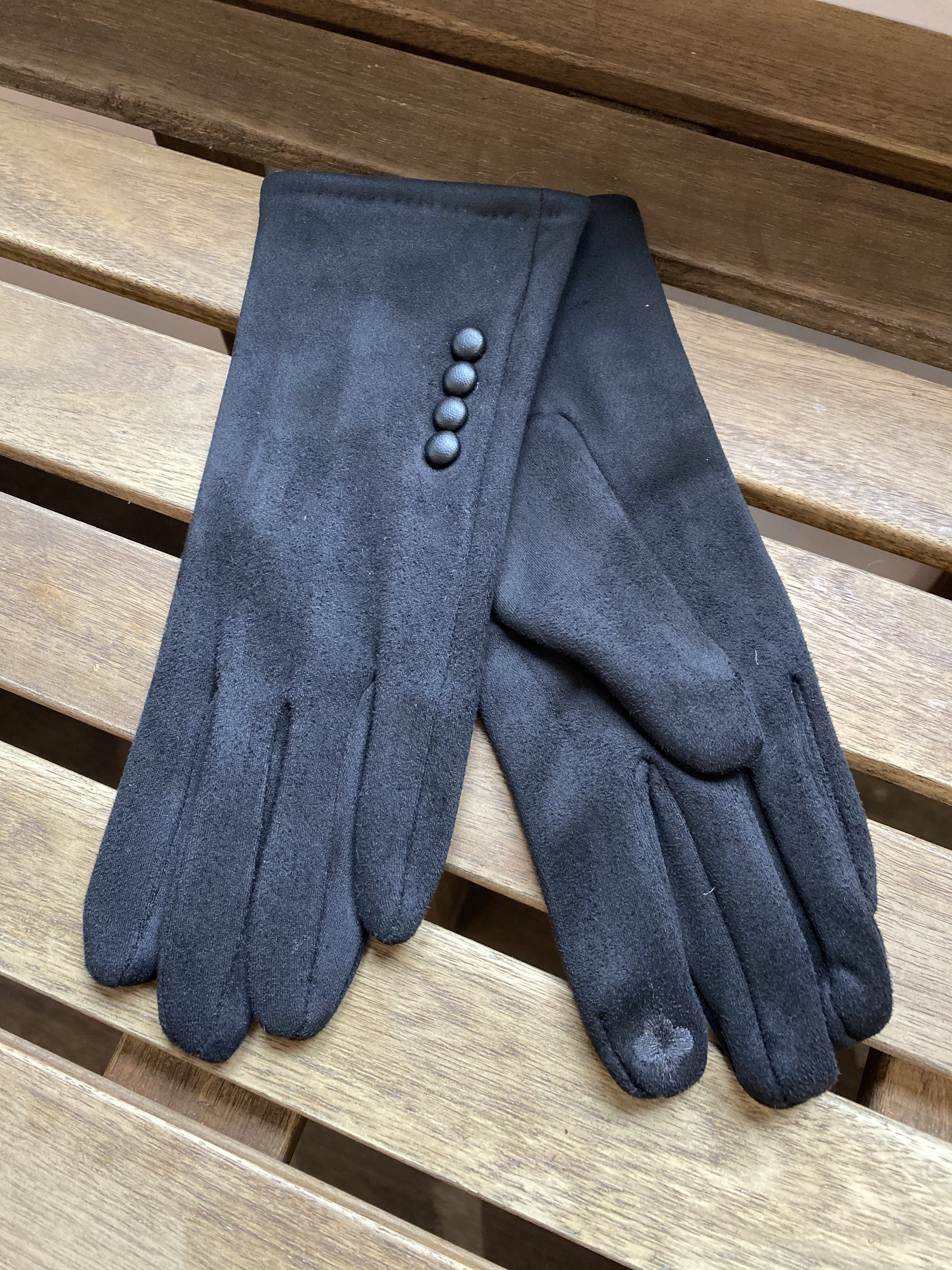 Gloves Black with Buttons