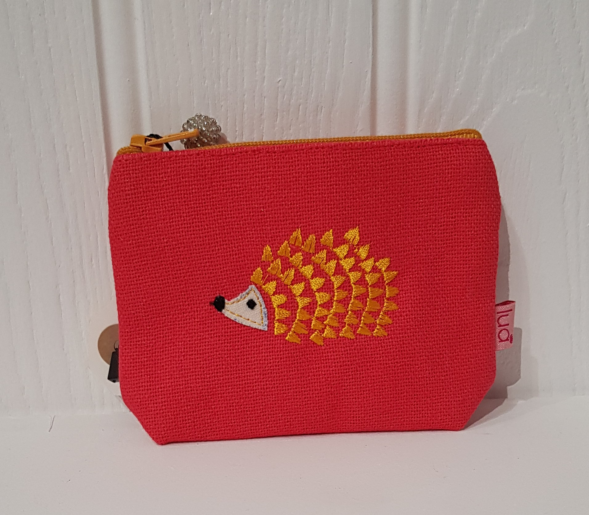 Purse Embroidered Hedgehog (Coral)