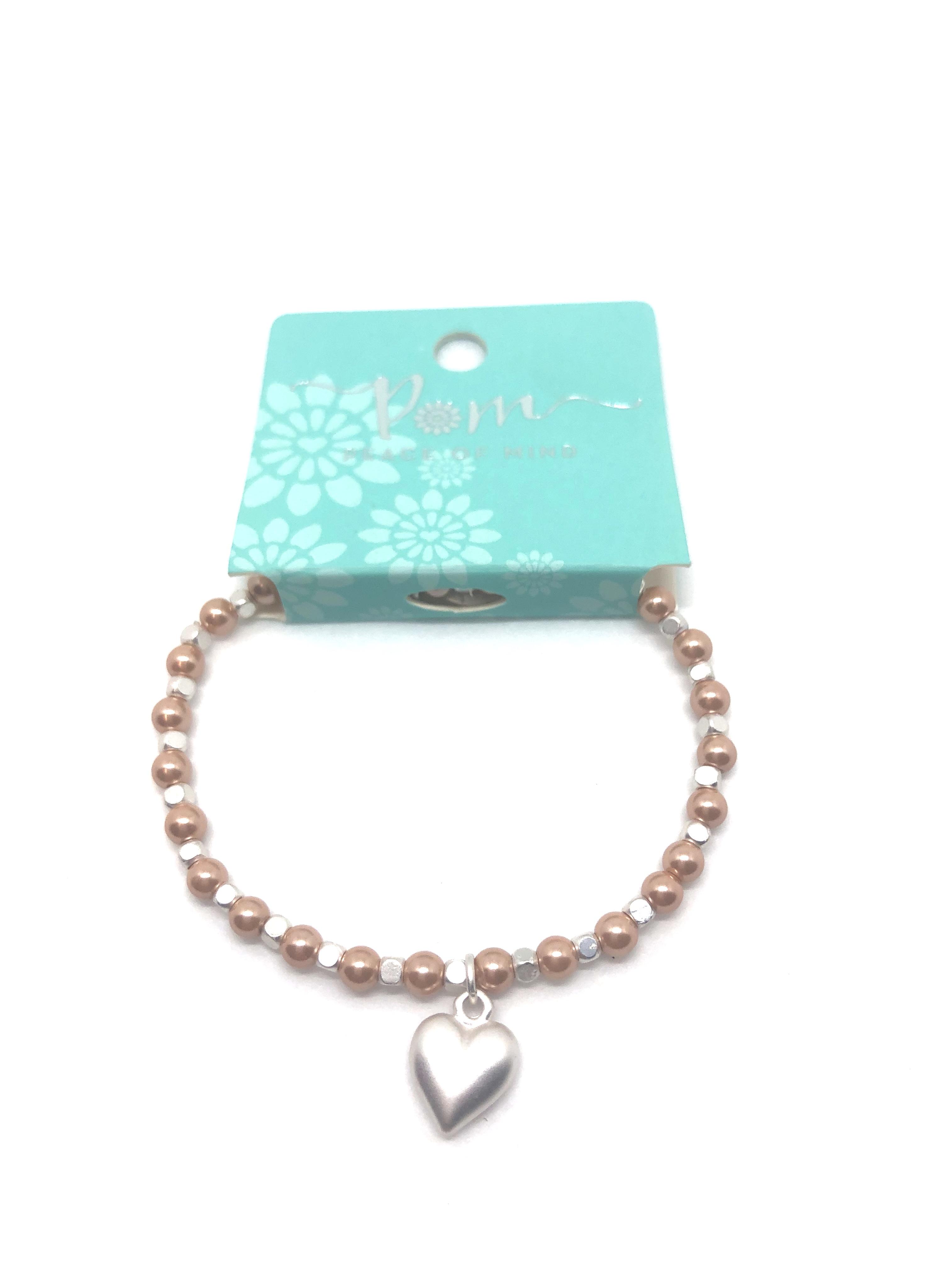 Bracelet (Pom) Matt Silver Heart on Mink Pearl & Silver Bead