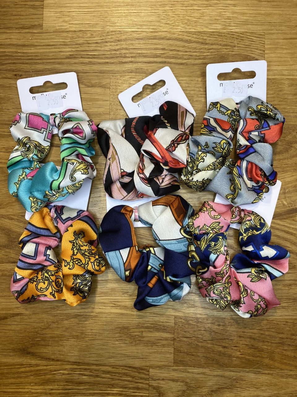 Bold Abstract Print Satin Scrunchies