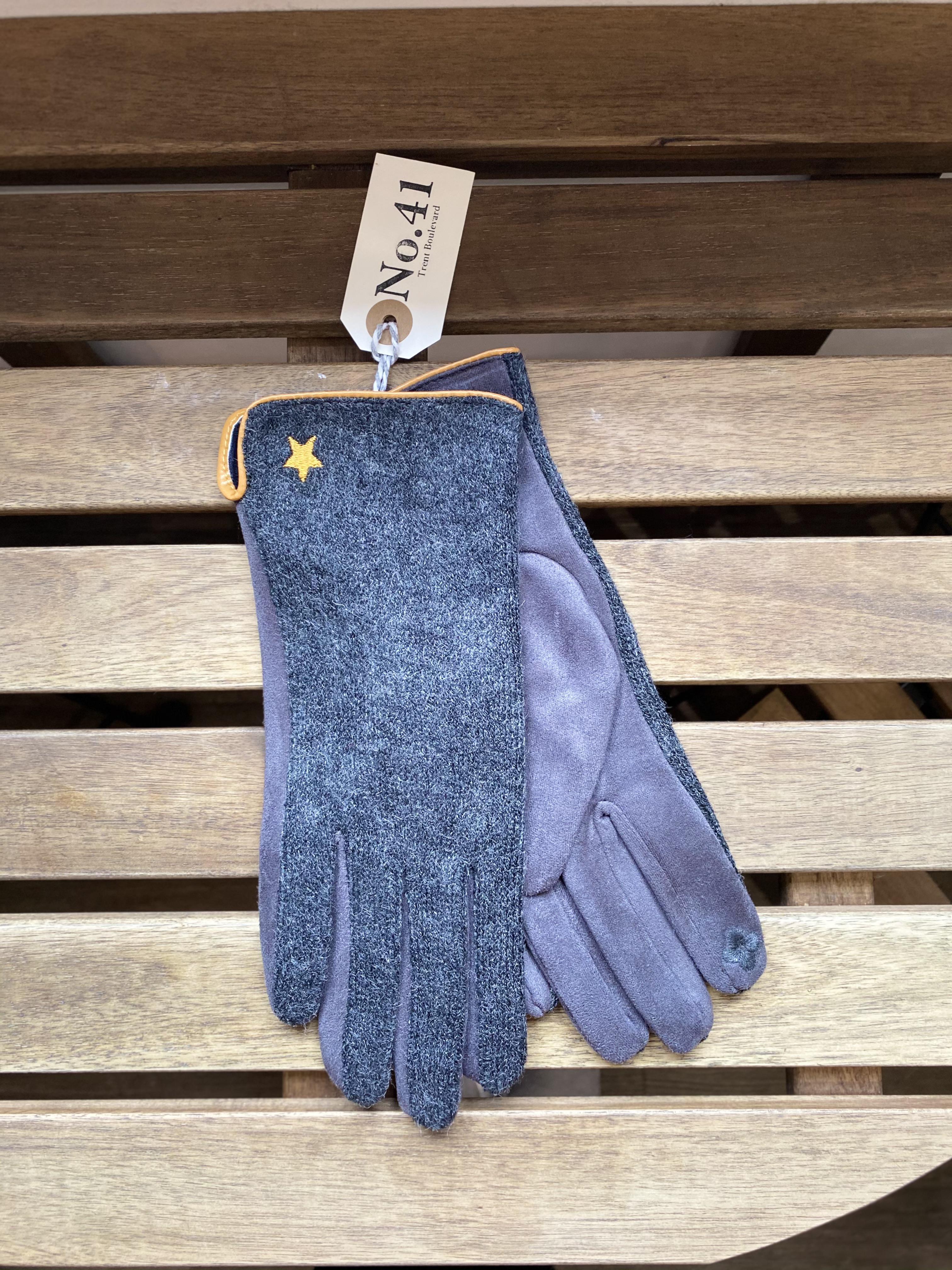 Gloves Dark Grey with Mustard Trim & Star