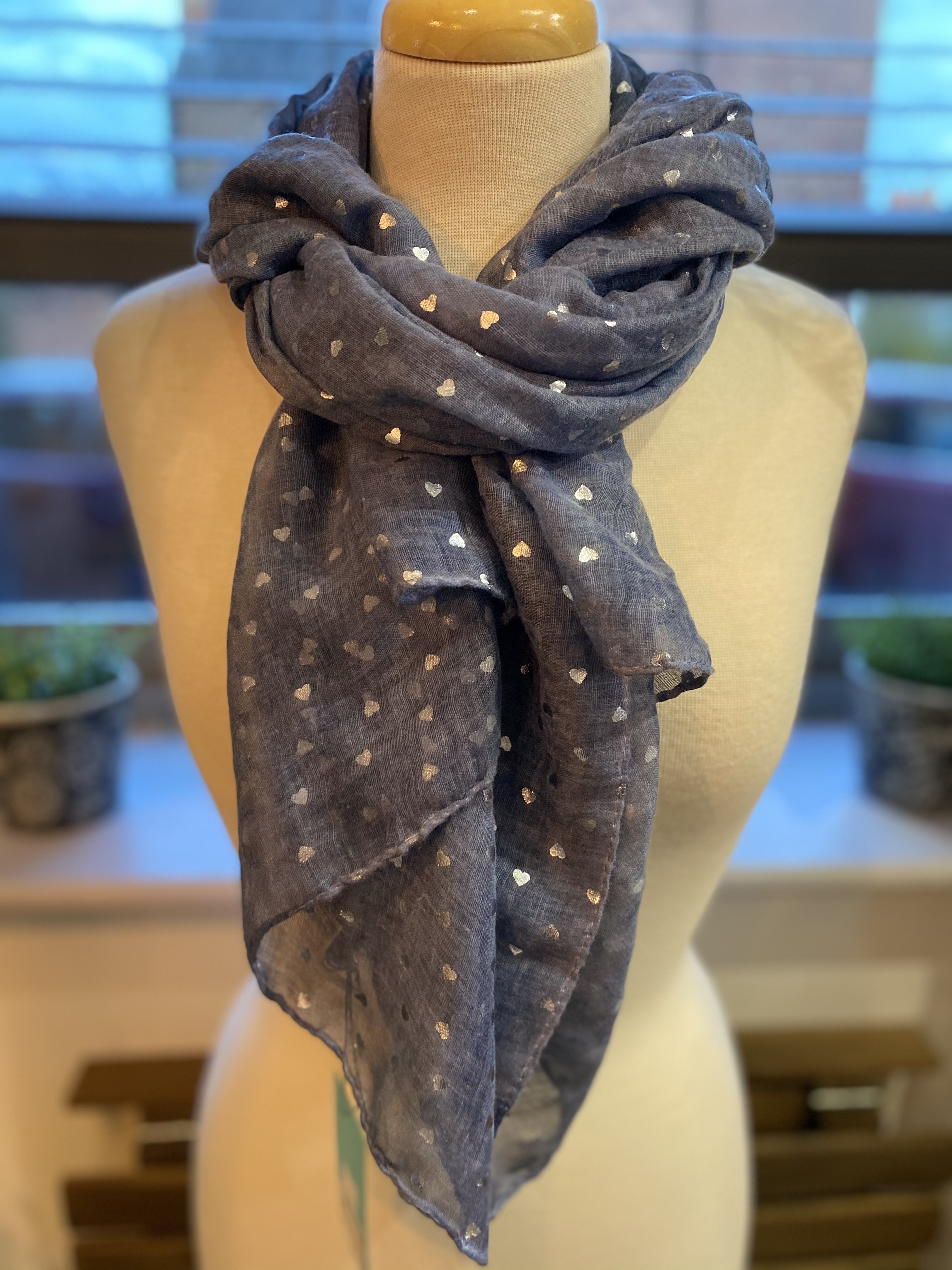 Denim Blue With Silver Hearts Scarf