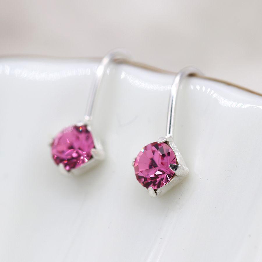 Earrings - Little Pink Crystal Drop