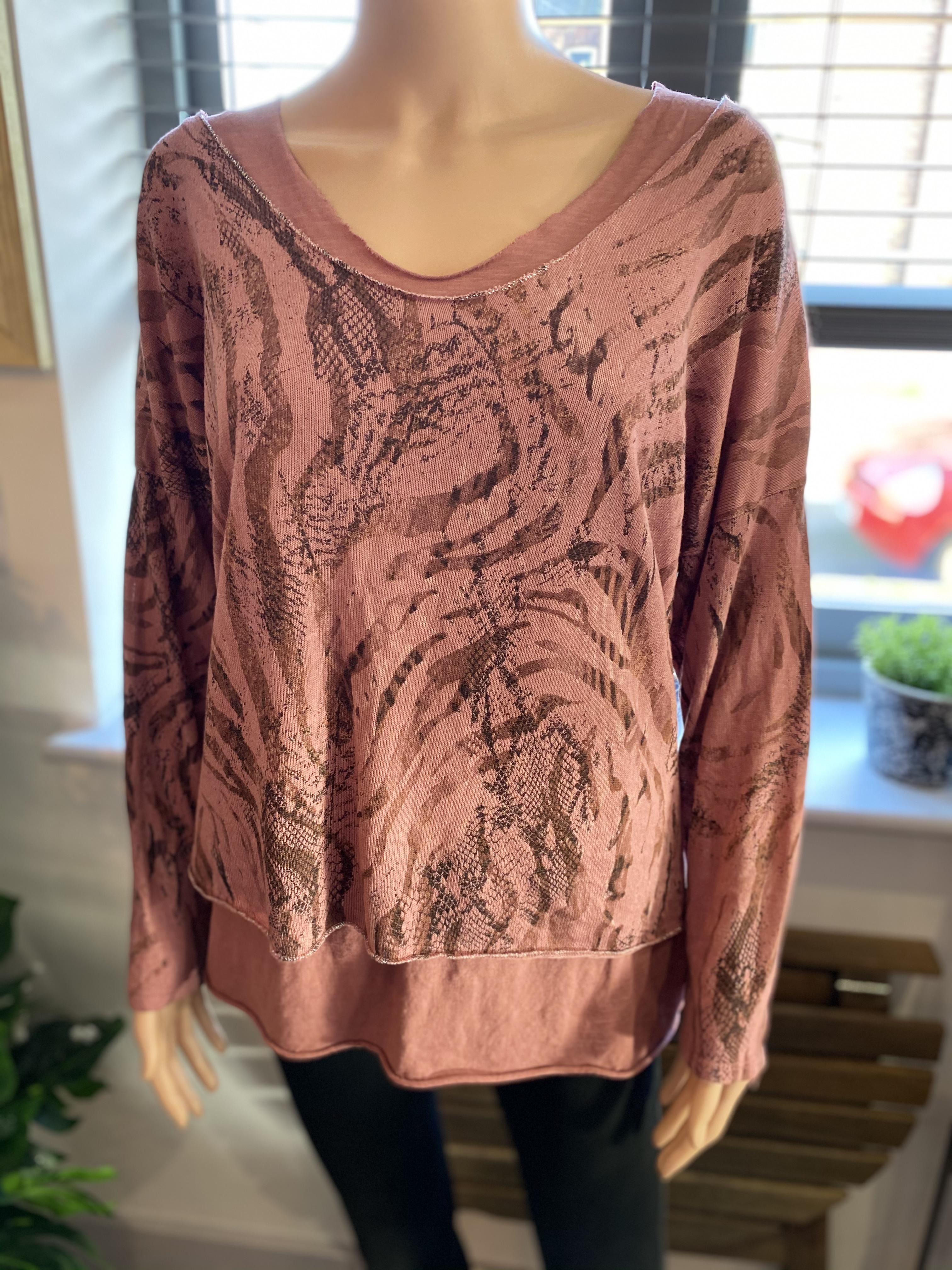 Animal Print Layered Lurex Top - Rose