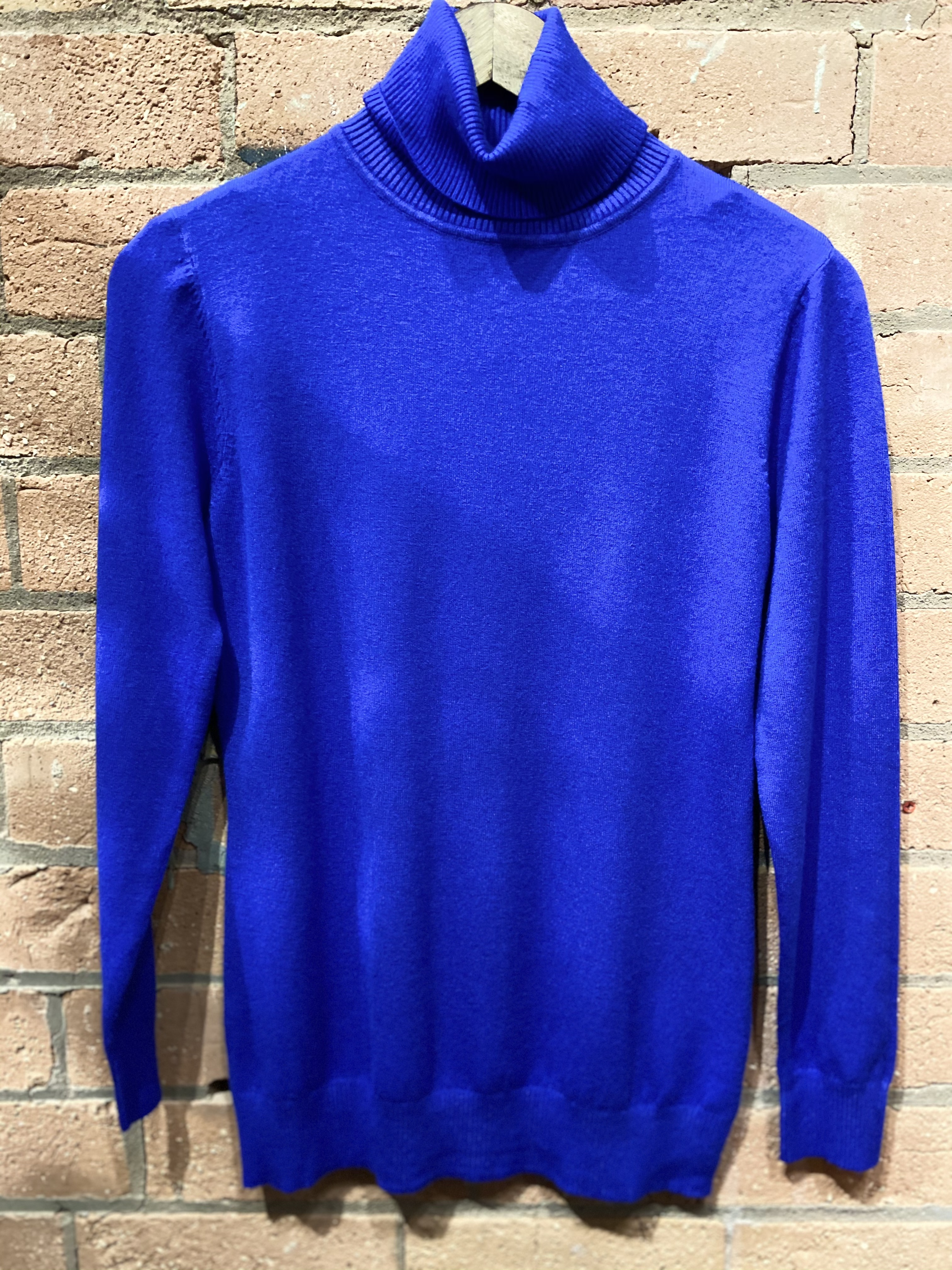 Now £10 Electric Blue Polo Neck Jumper