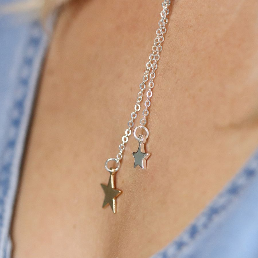 Necklace Silver & Gold Plated Double Star Lariat