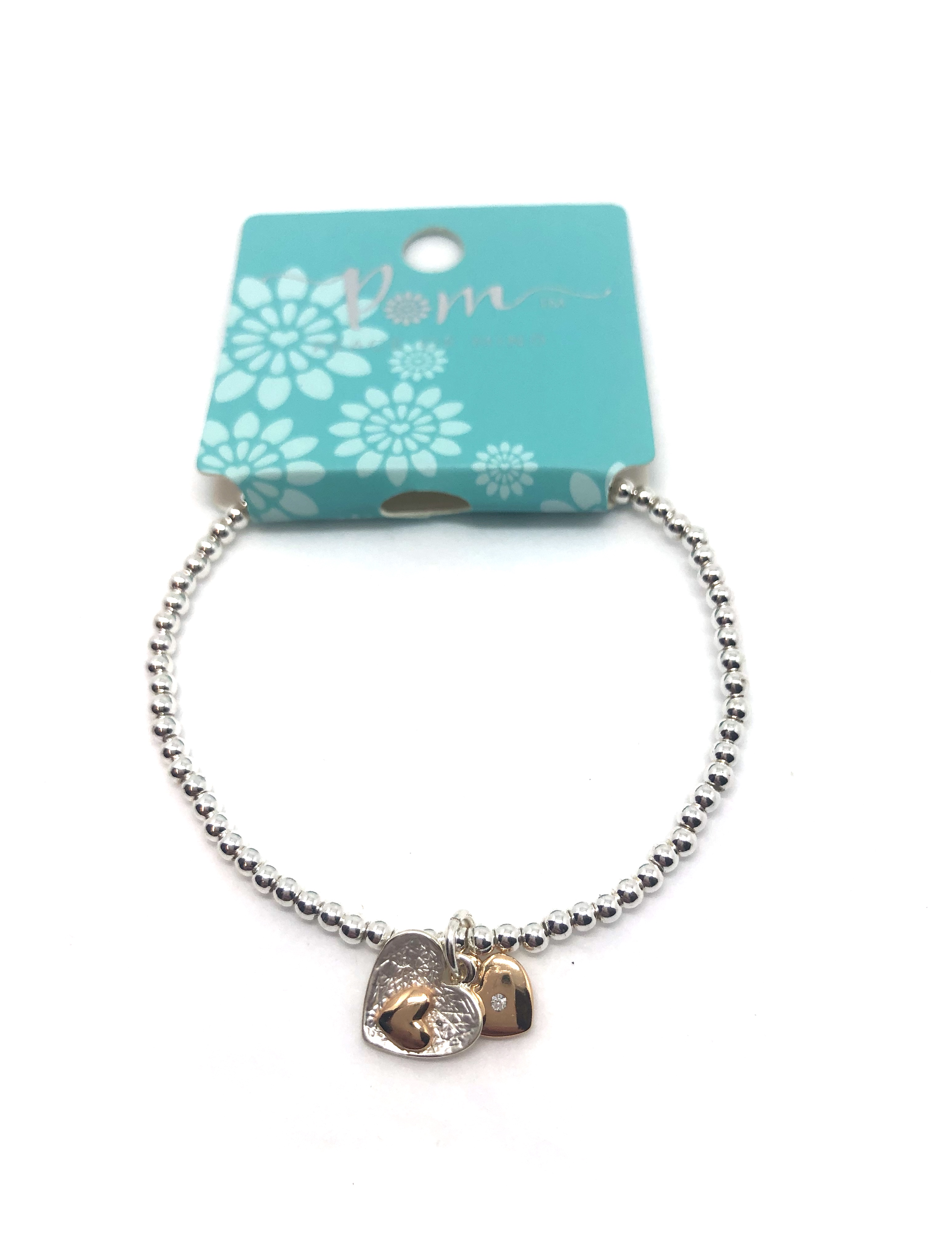 Bracelet (Pom) Double Heart Silver/Gold Plated