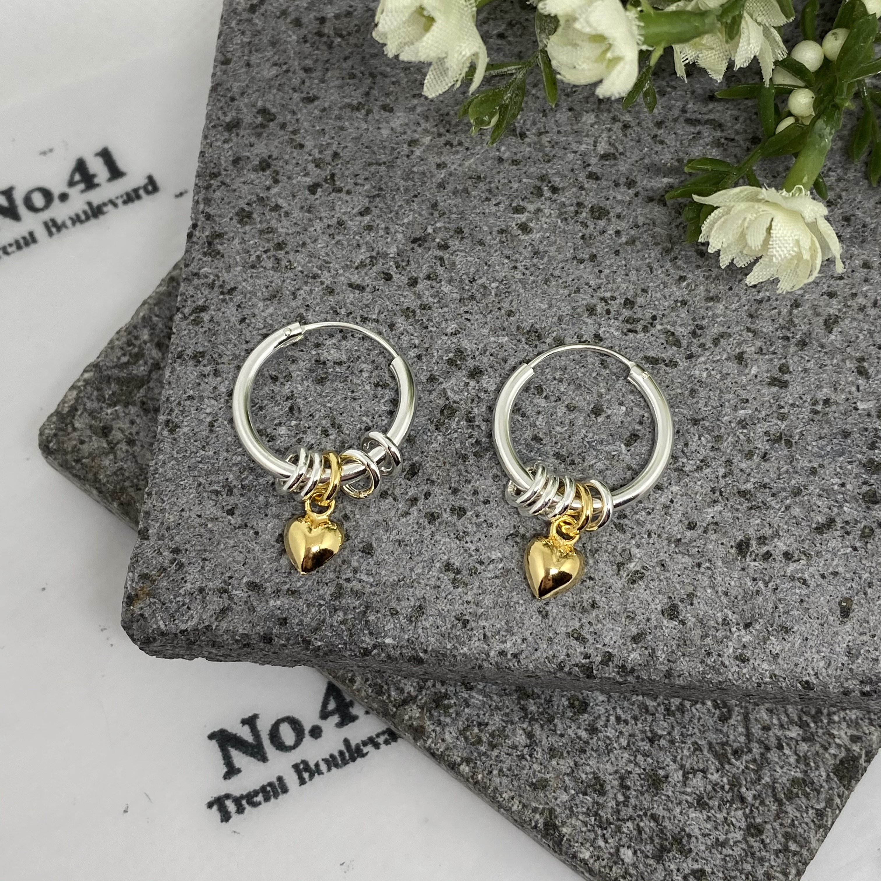Sterling Silver Hoops with Gold Heart