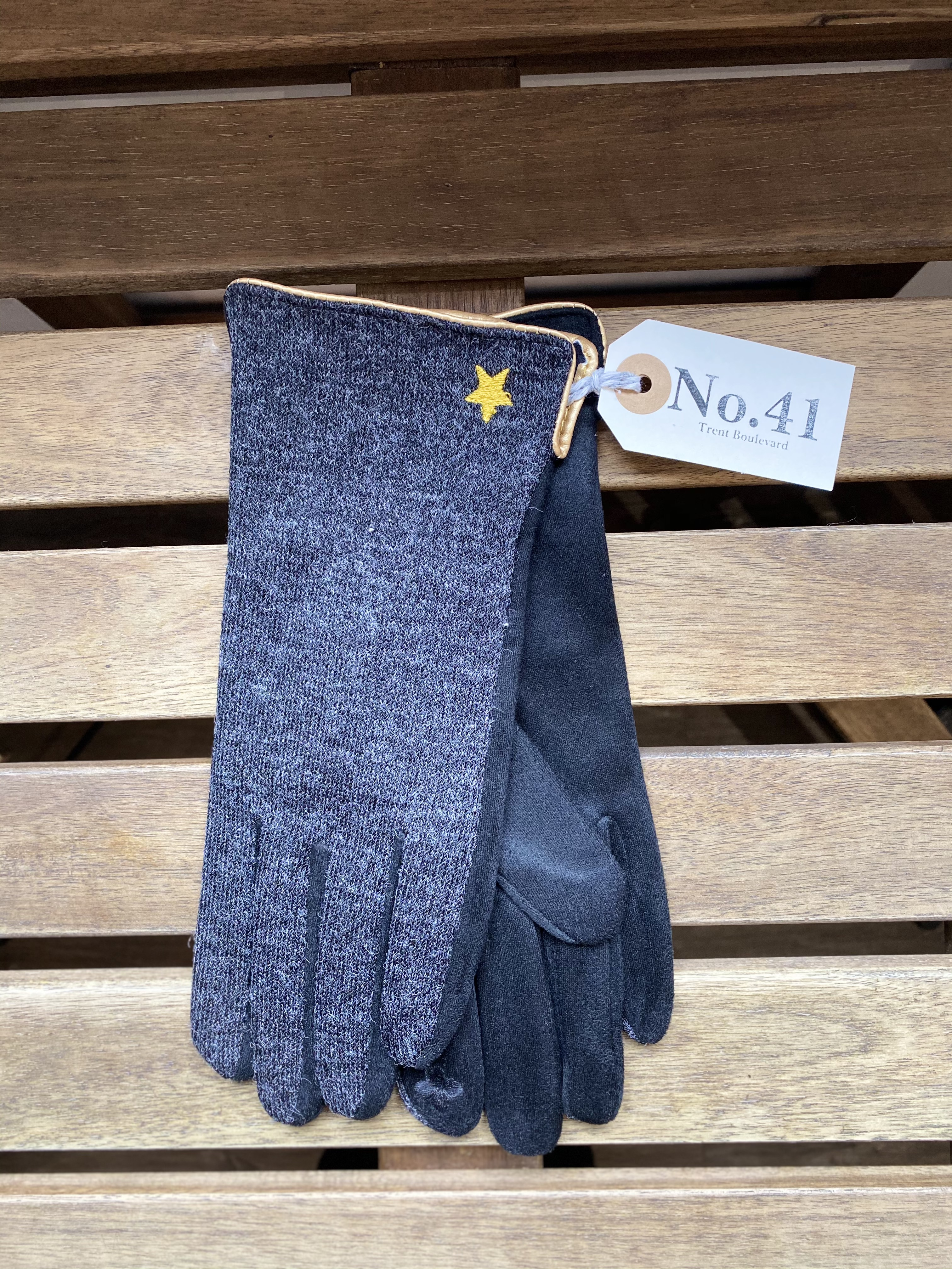 Gloves Black Gold Trim & Star