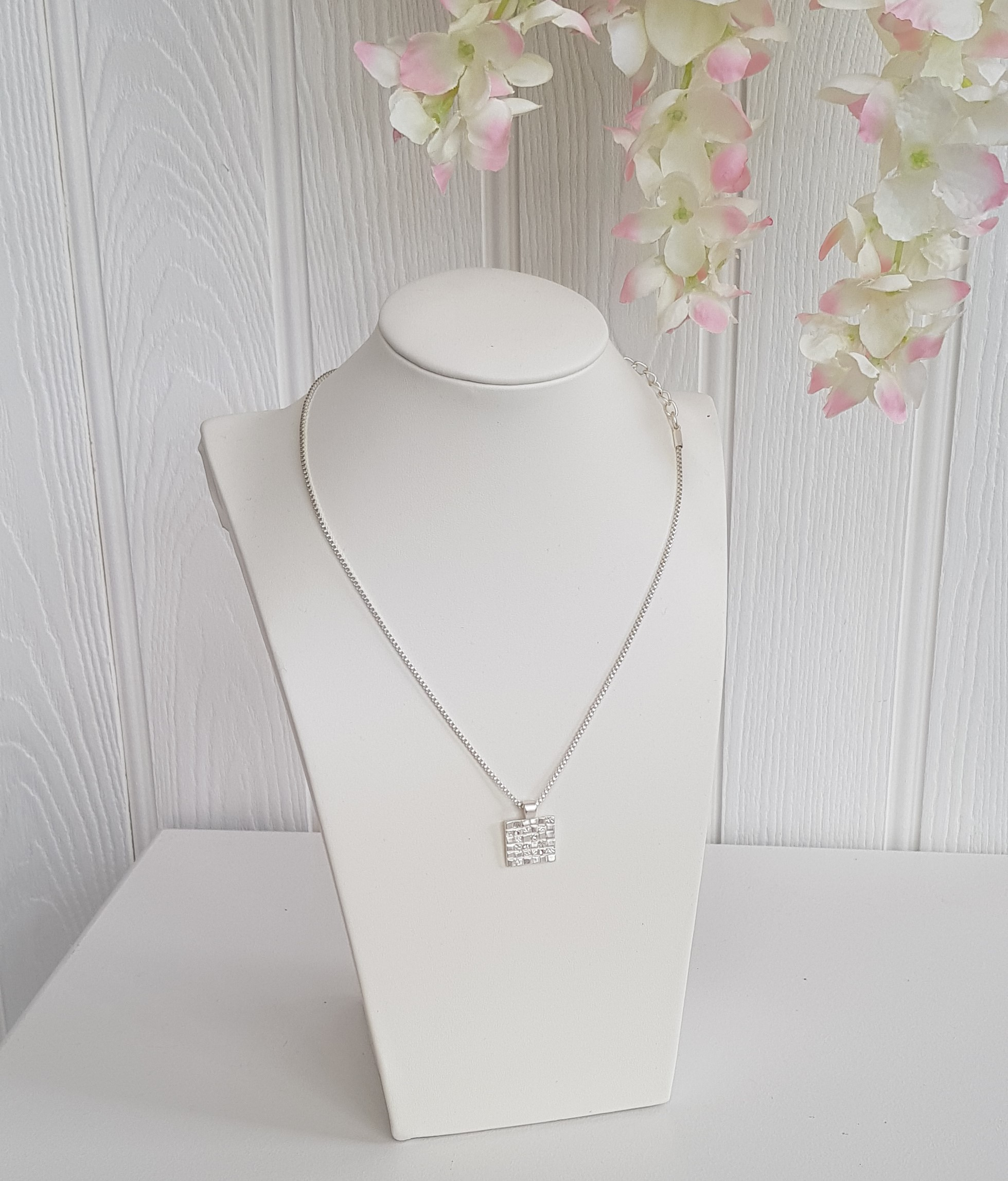 Necklace Mosaic Inspired Square Crystal Detail