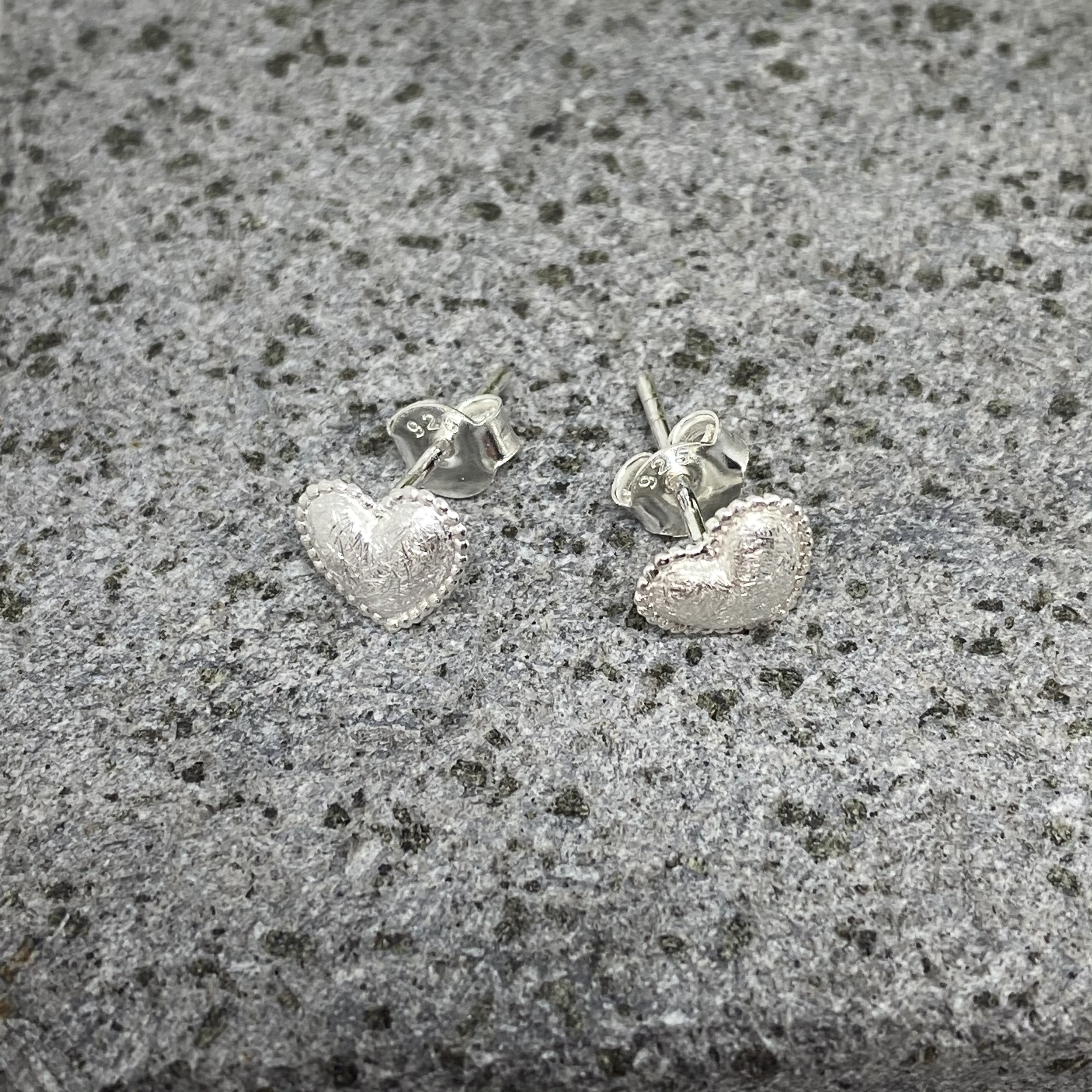 Brushed Sterling Silver Hearts