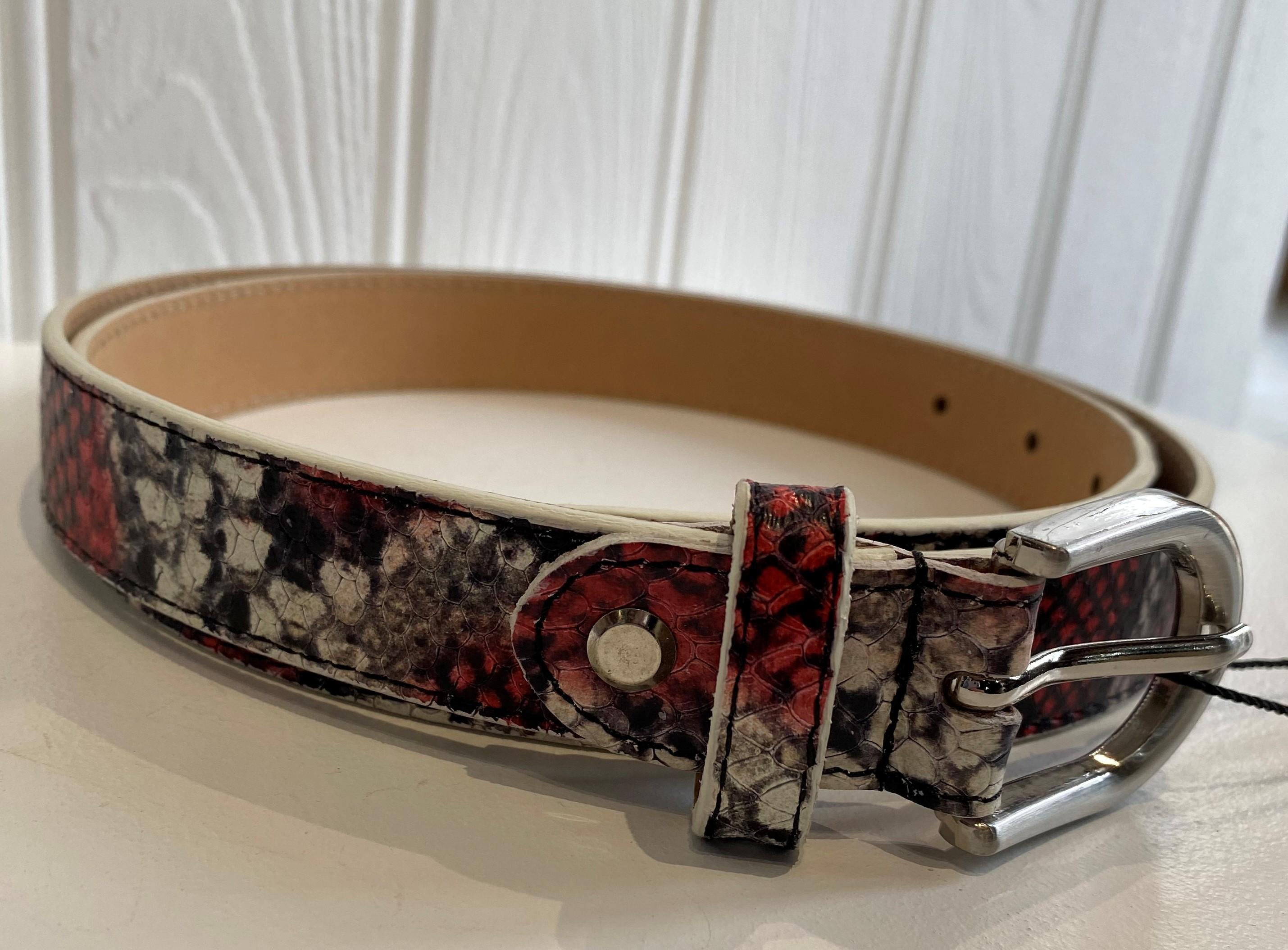 Snake Print Belt Red
