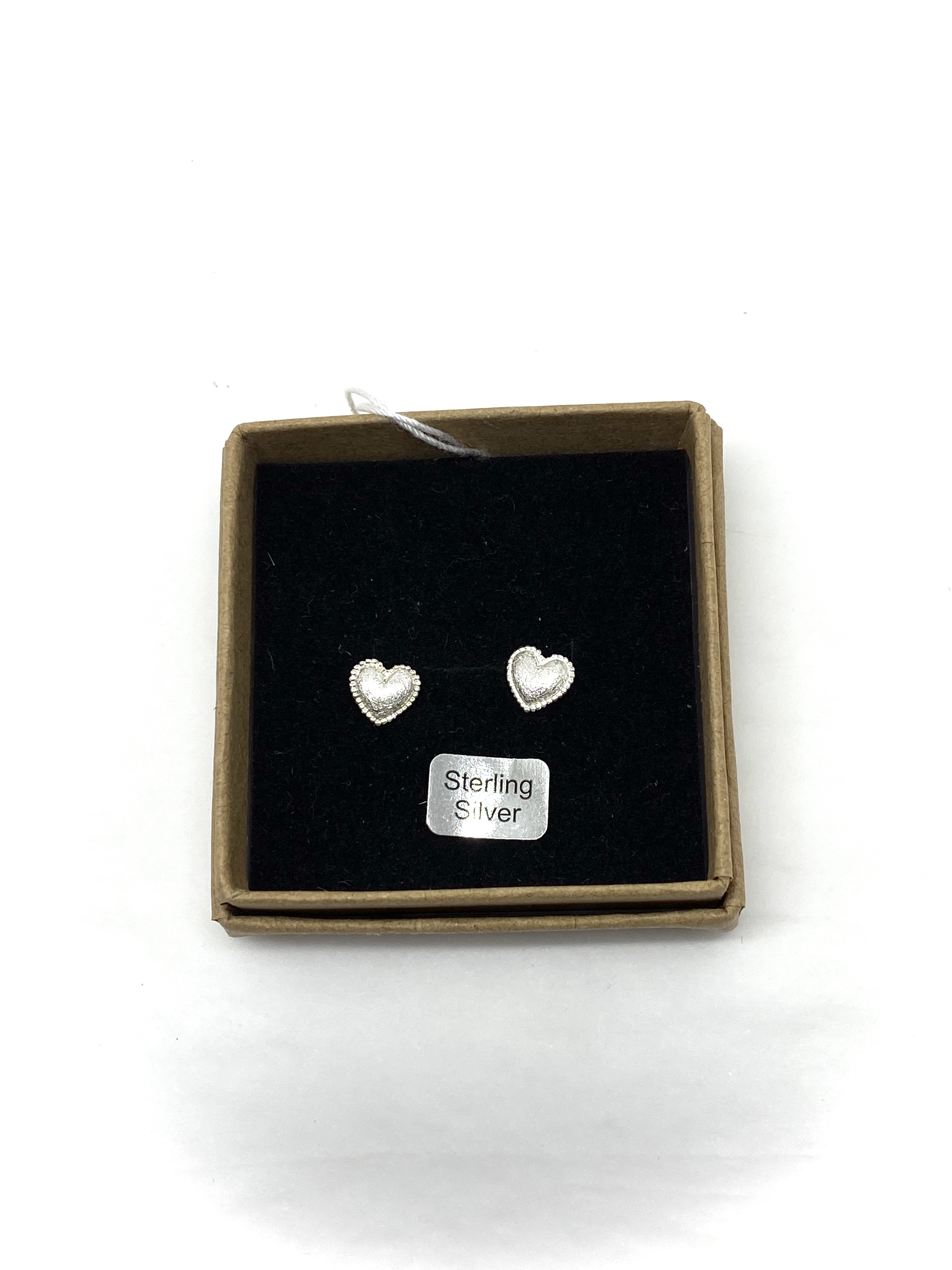 Boxed Brushed Silver Hearts