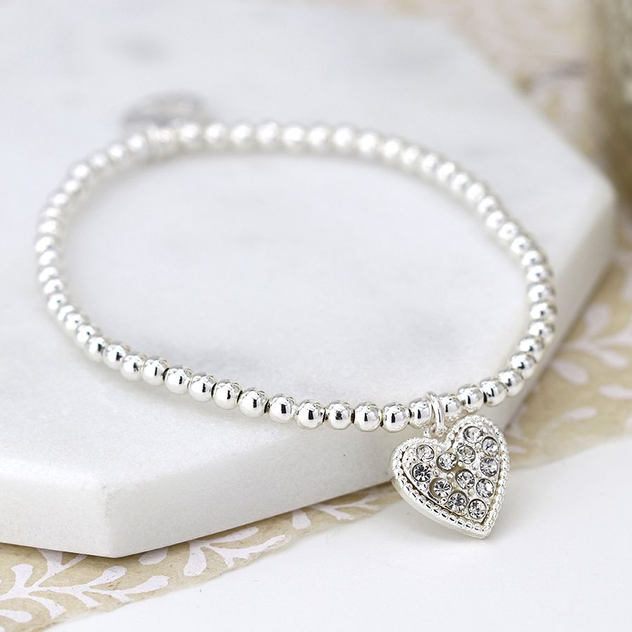 Bracelet Silver Plated Beaded With Crystal Heart