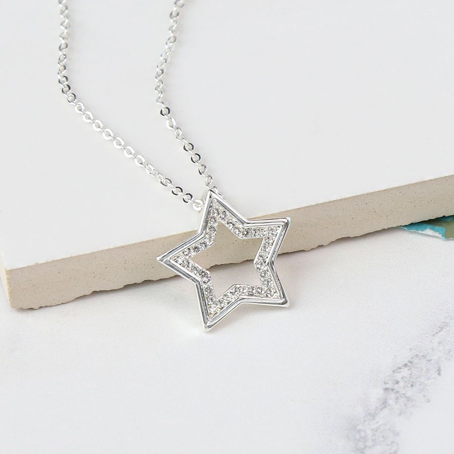 Necklace Silver Plated Crystal Open Star