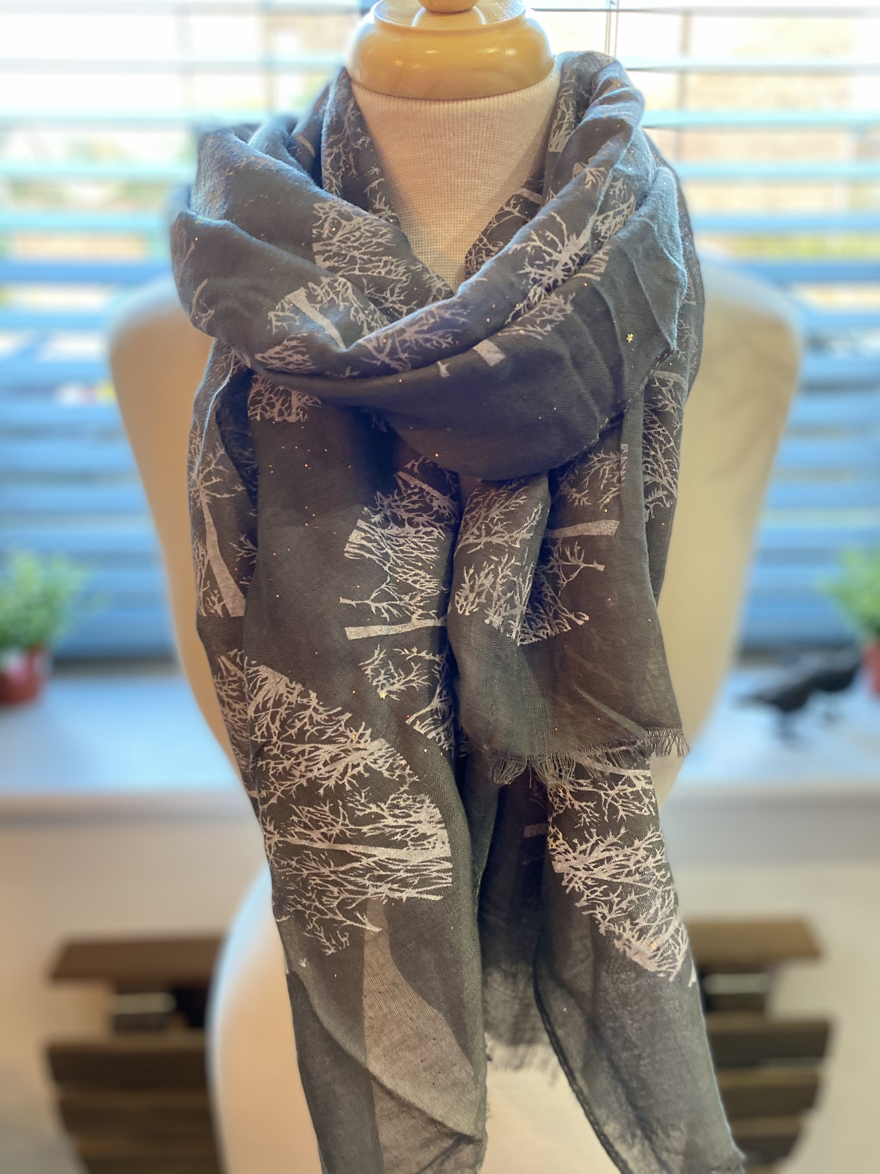 Dark Grey Scarf with Trees and Stars