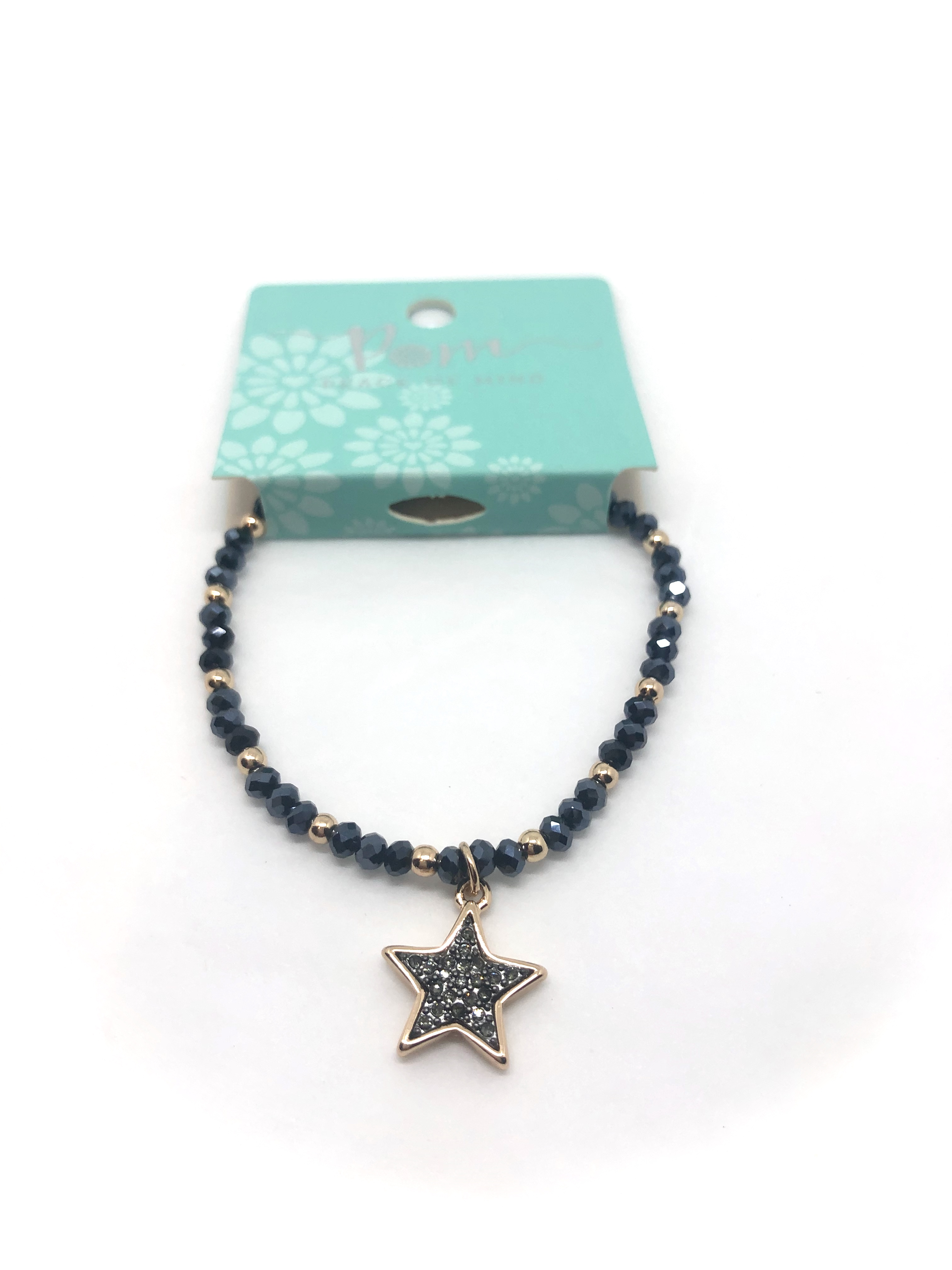 Bracelet (Pom) Golden Mixed Bead Black Star