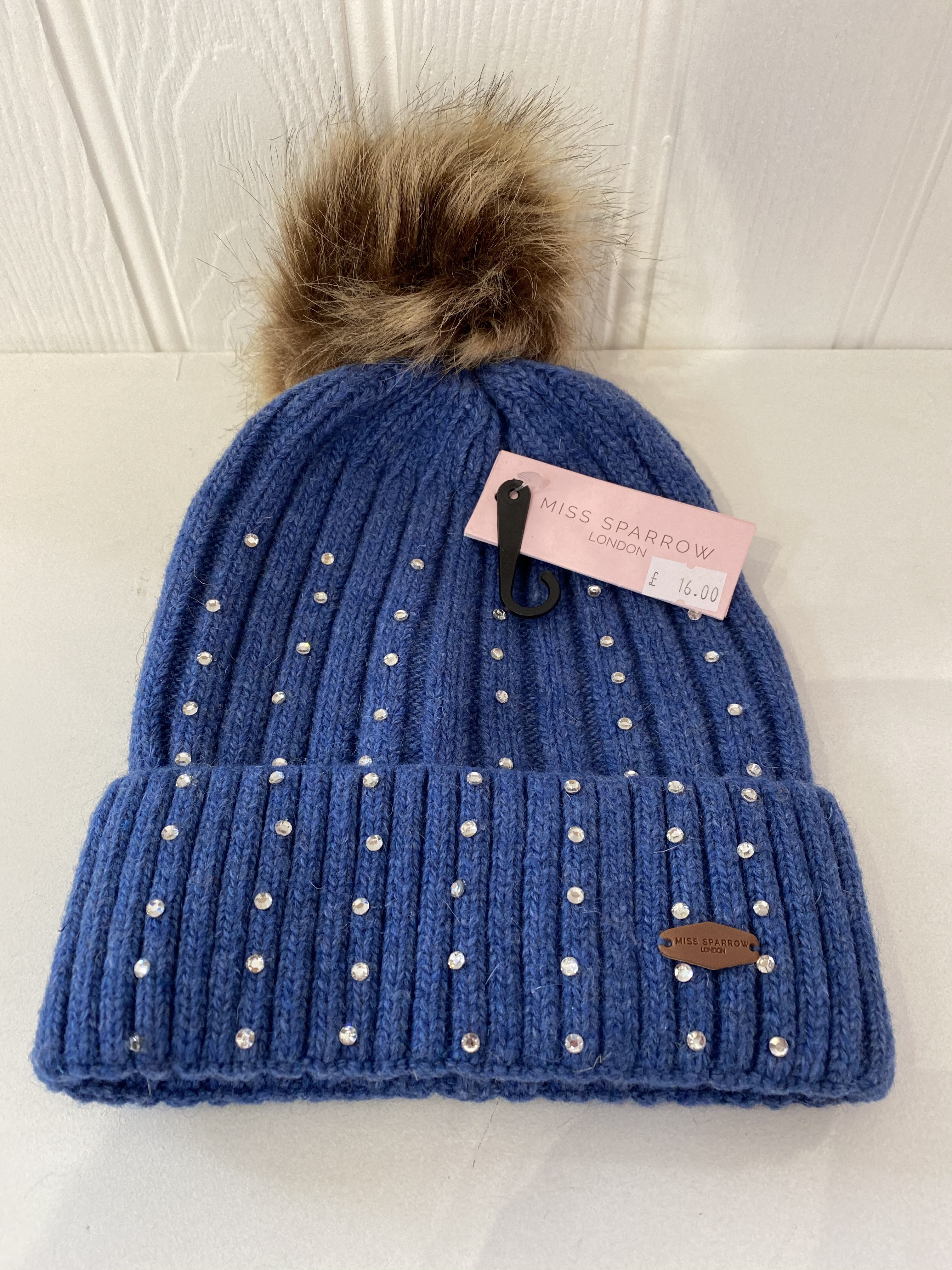 NOW £10 Denim Blue Hat With Diamante's