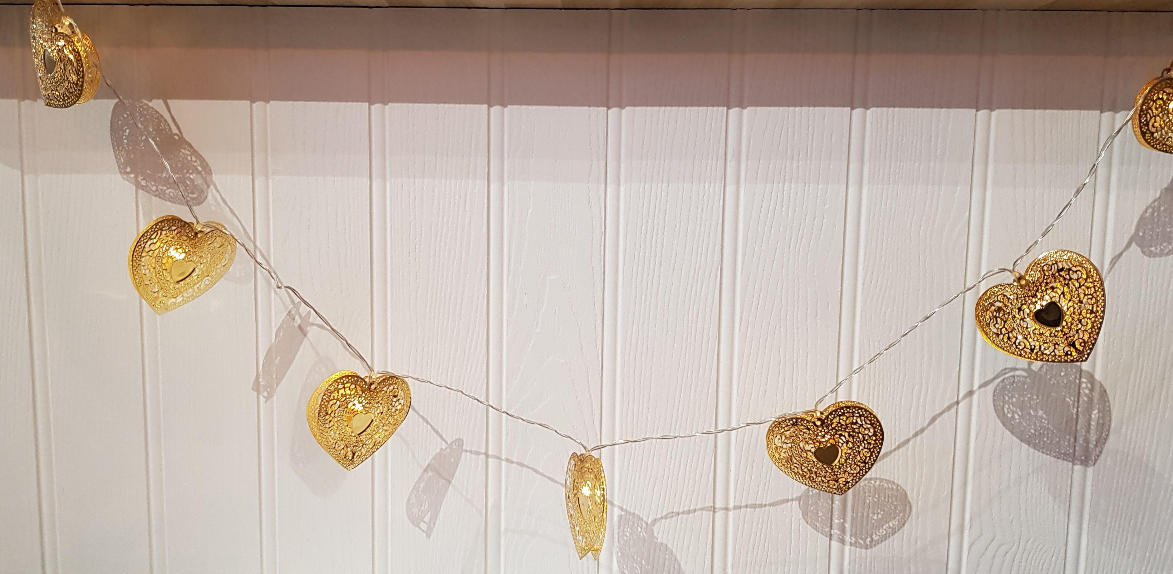 Gold Metal Hearts LED Lights