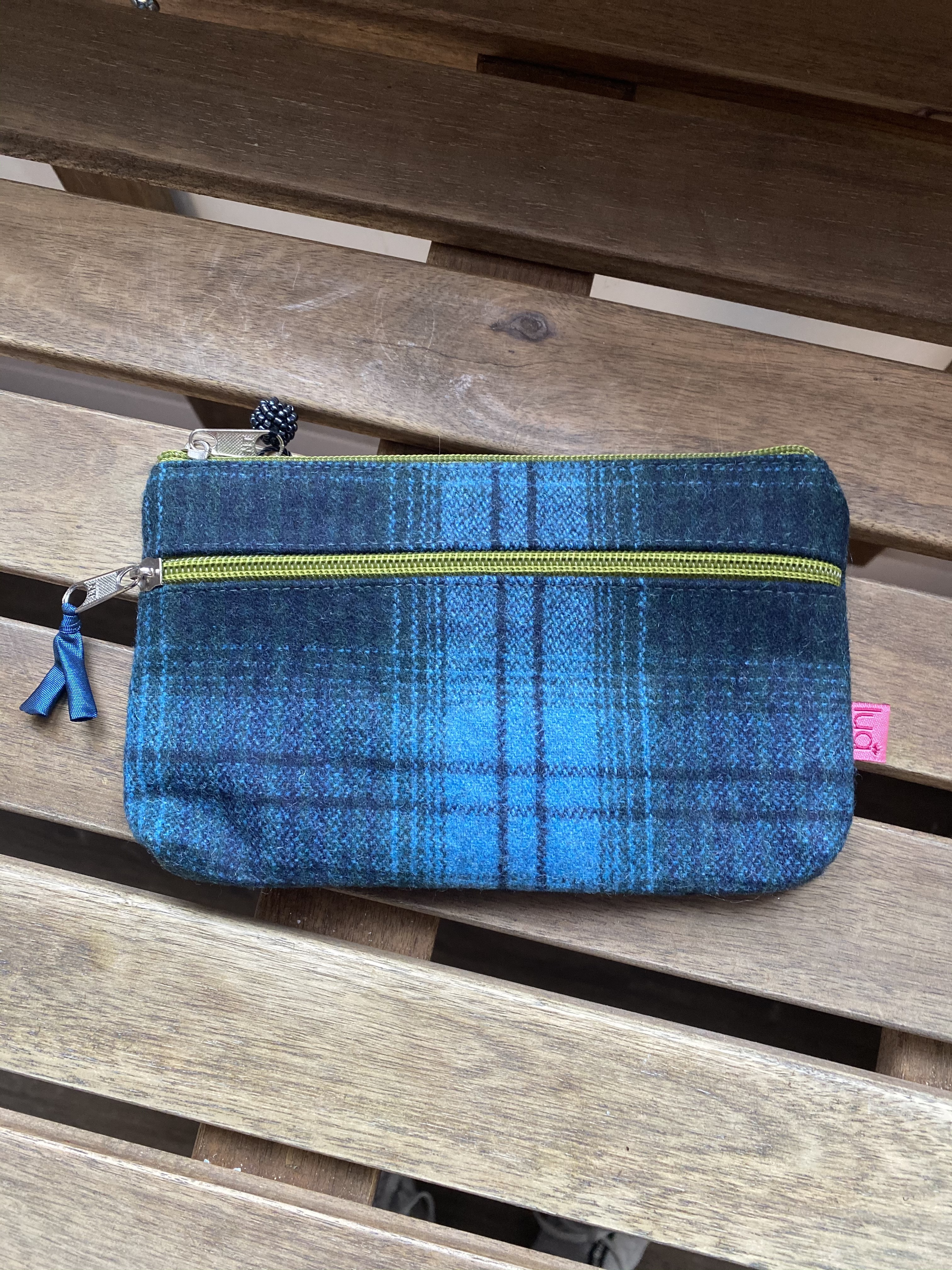 Purse Navy Green With 2 Zips