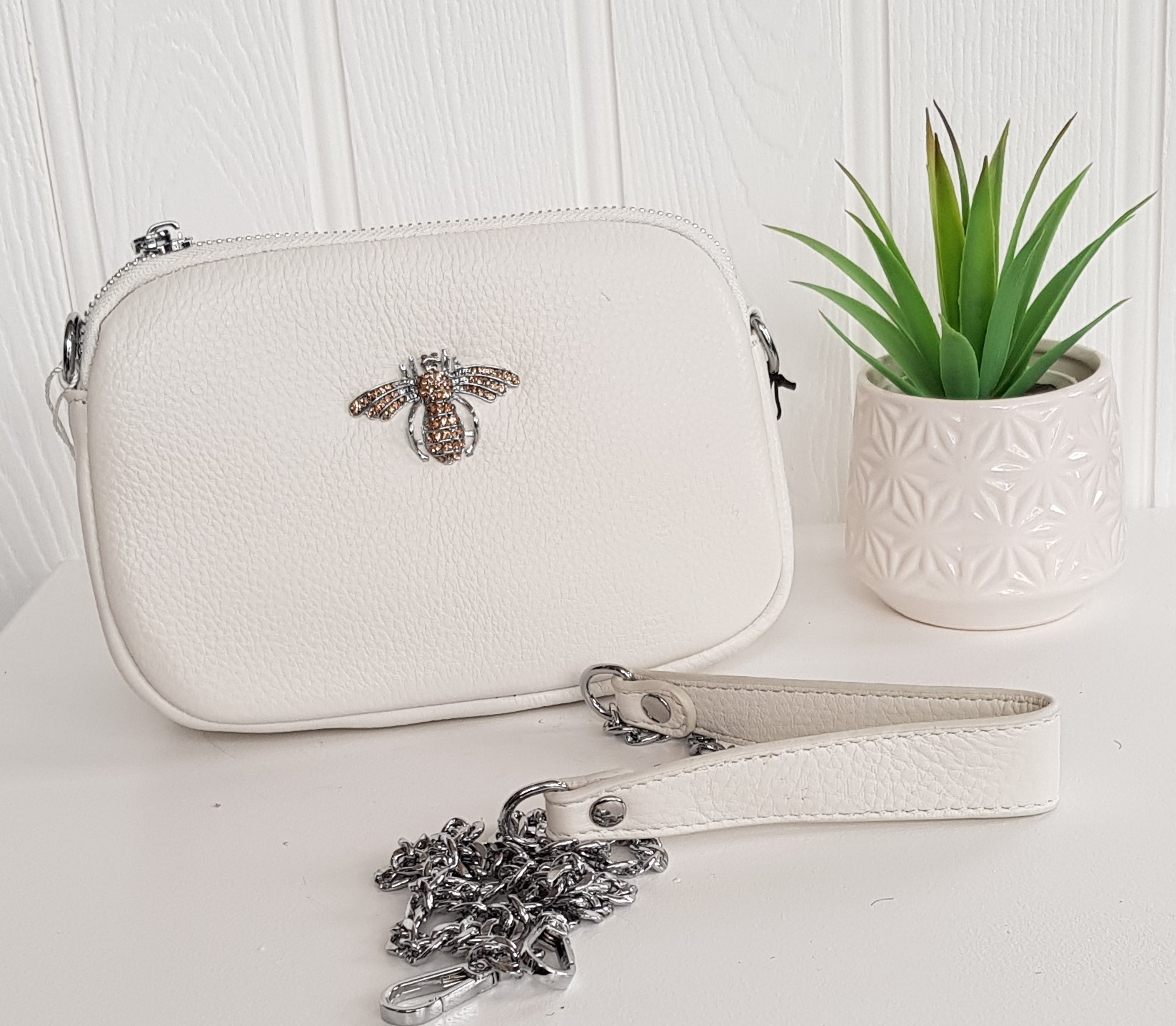 Bag - Cream (Off White) Leather Bag With Crystal Bee