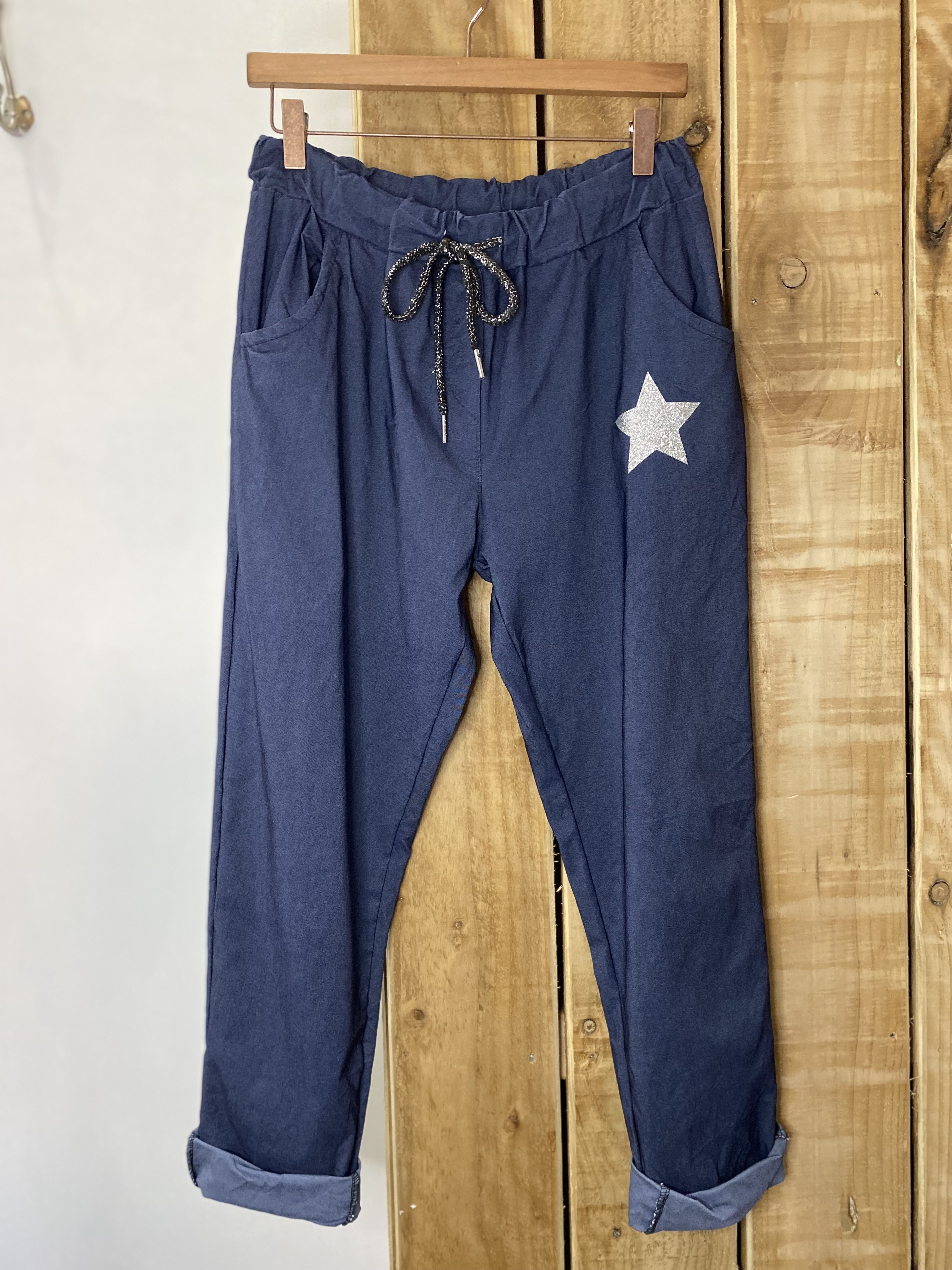 Stretchy Jean Style Trousers With Star