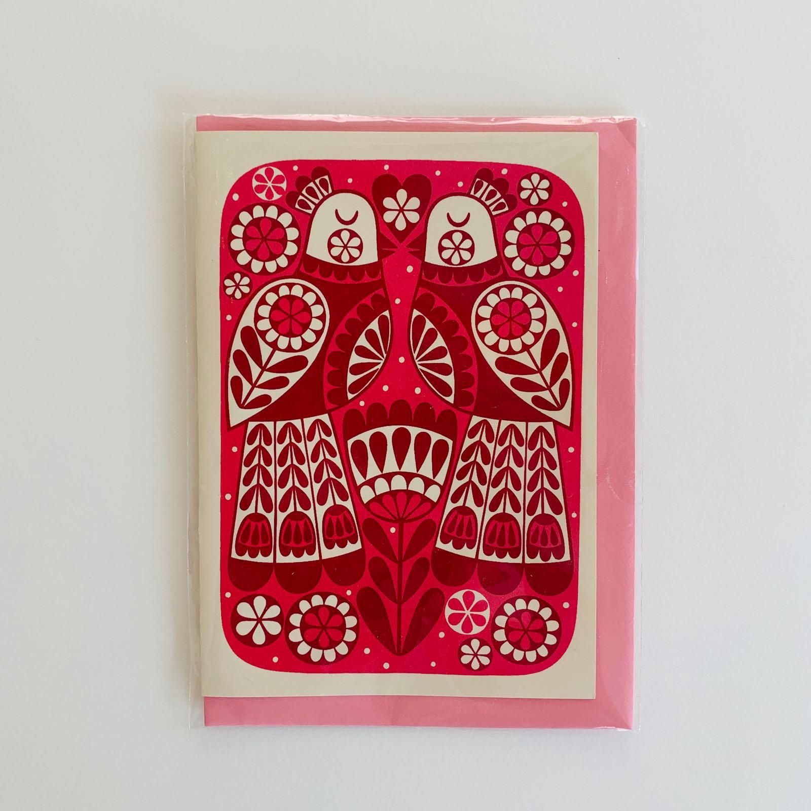 Karoline Rerrie - Lovebirds Screenprinted Greeting Card (Pink)