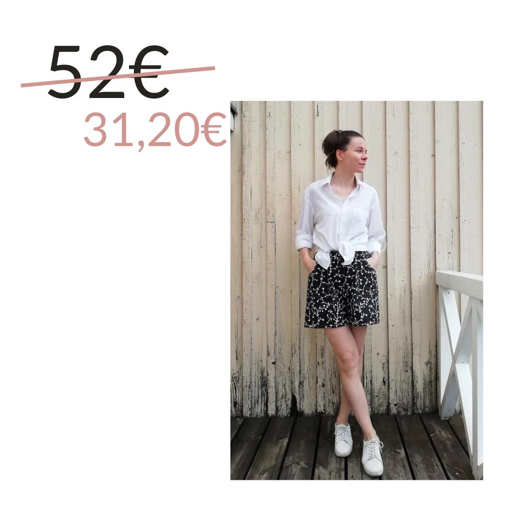 Shortsit kierrätyskankaasta, mustavalkoinen - Aana Ilona