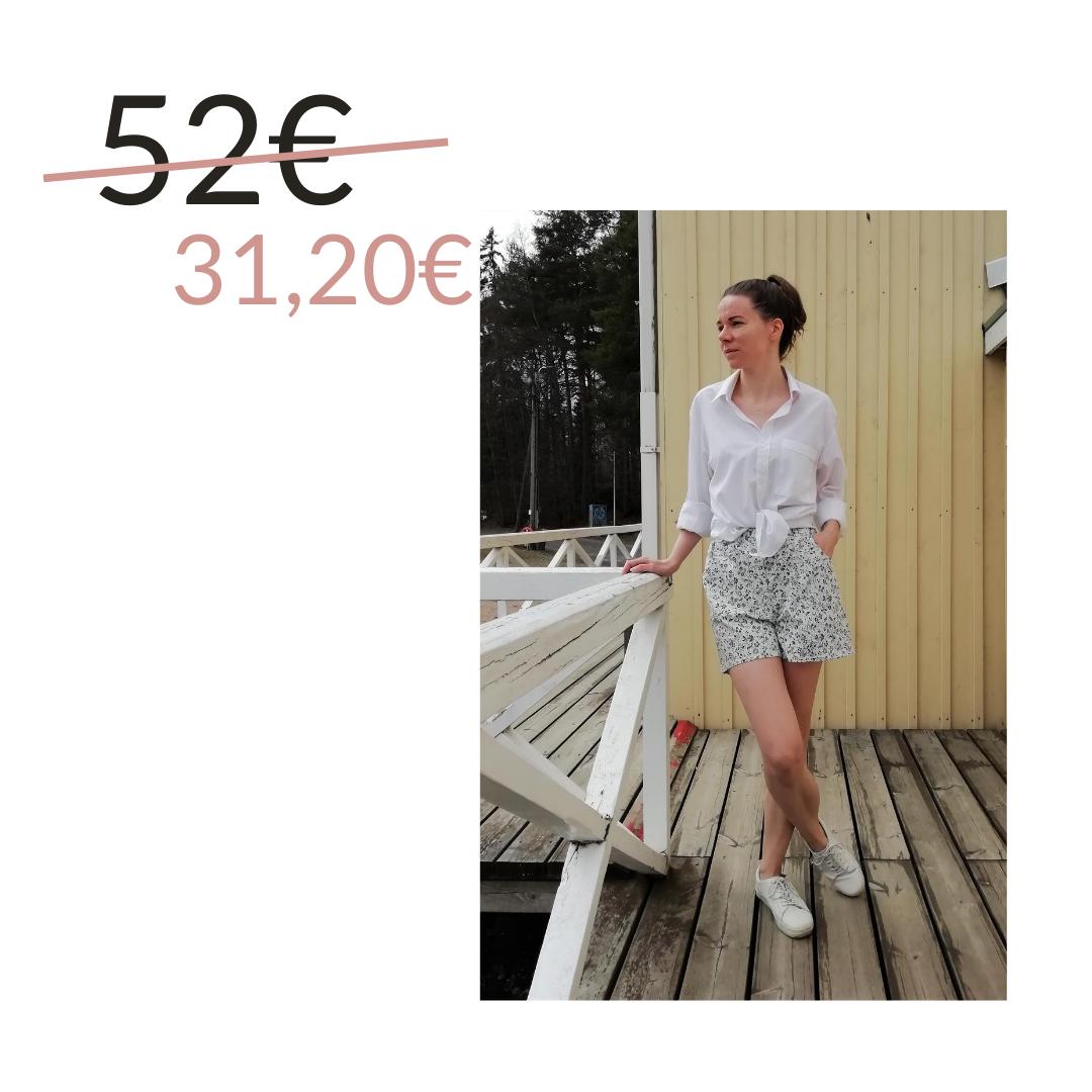 Shortsit kierrätyskankaasta, valkoinen kuviolla -Aana Ilona