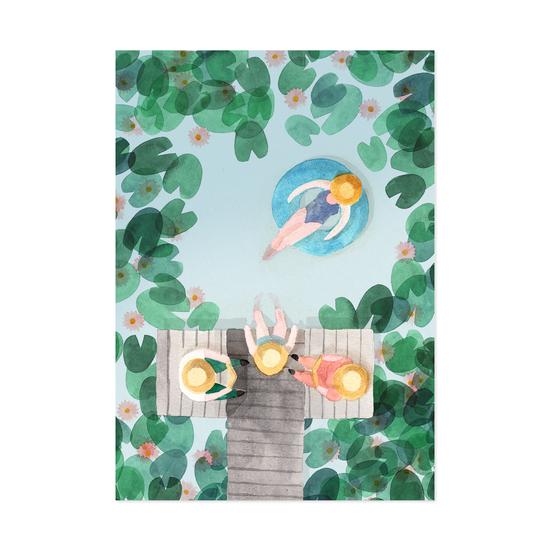 Laiturilla postikortti - Polka paper