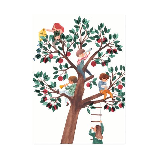 Omenapuussa postikortti - Polka paper