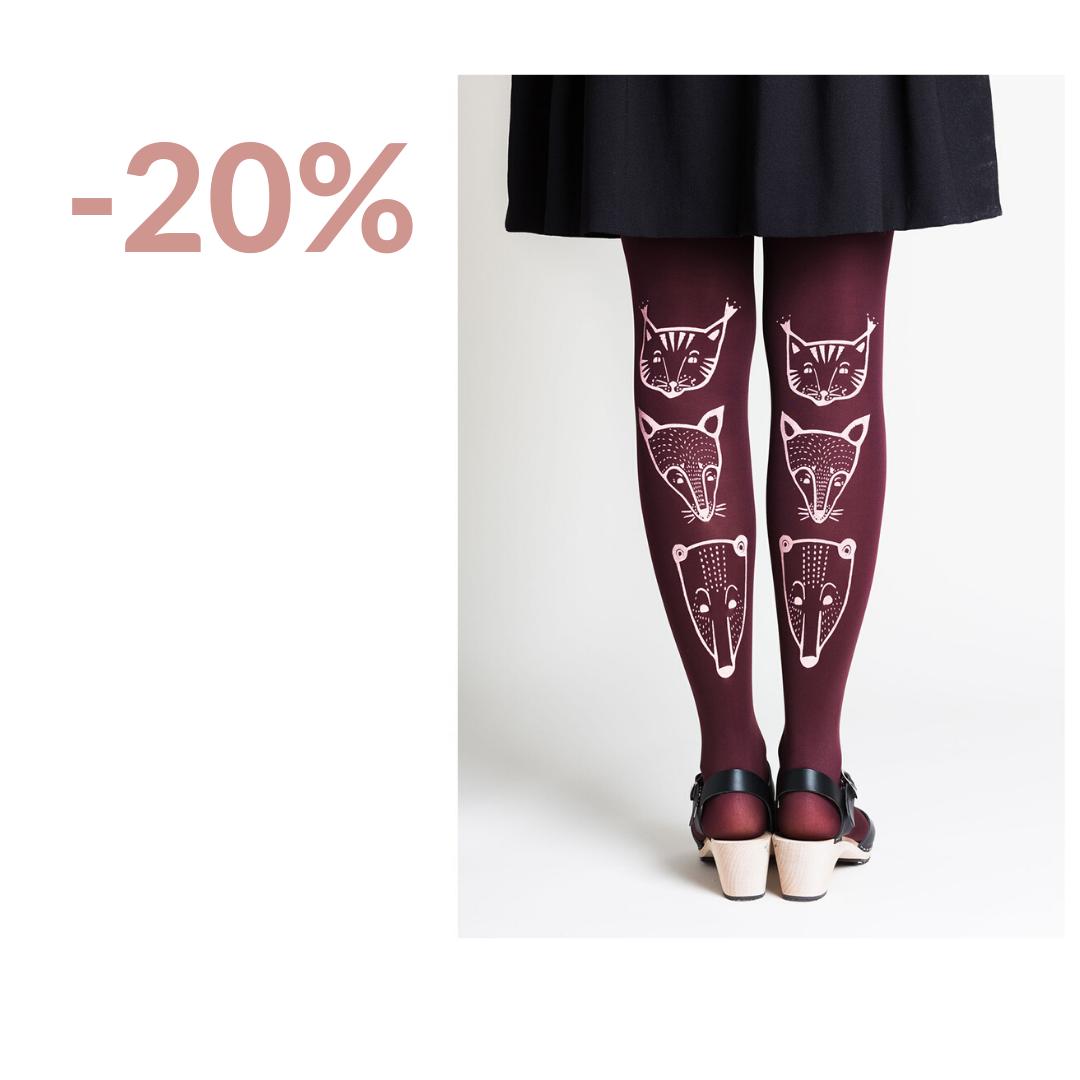 Toteemieläimet sukkahousut punaviini - Mary a Jalava