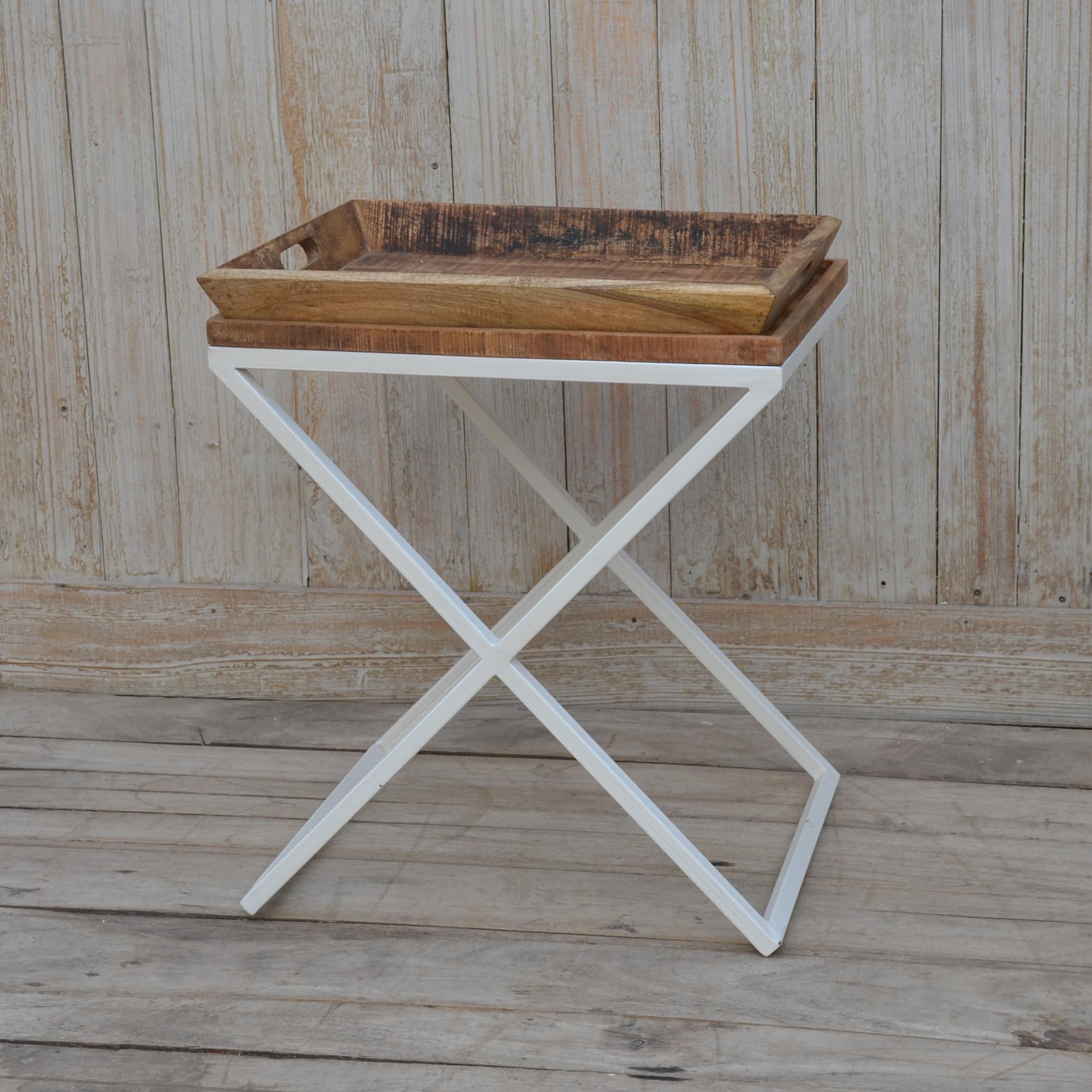 Cross Legged Wooden Tray Table