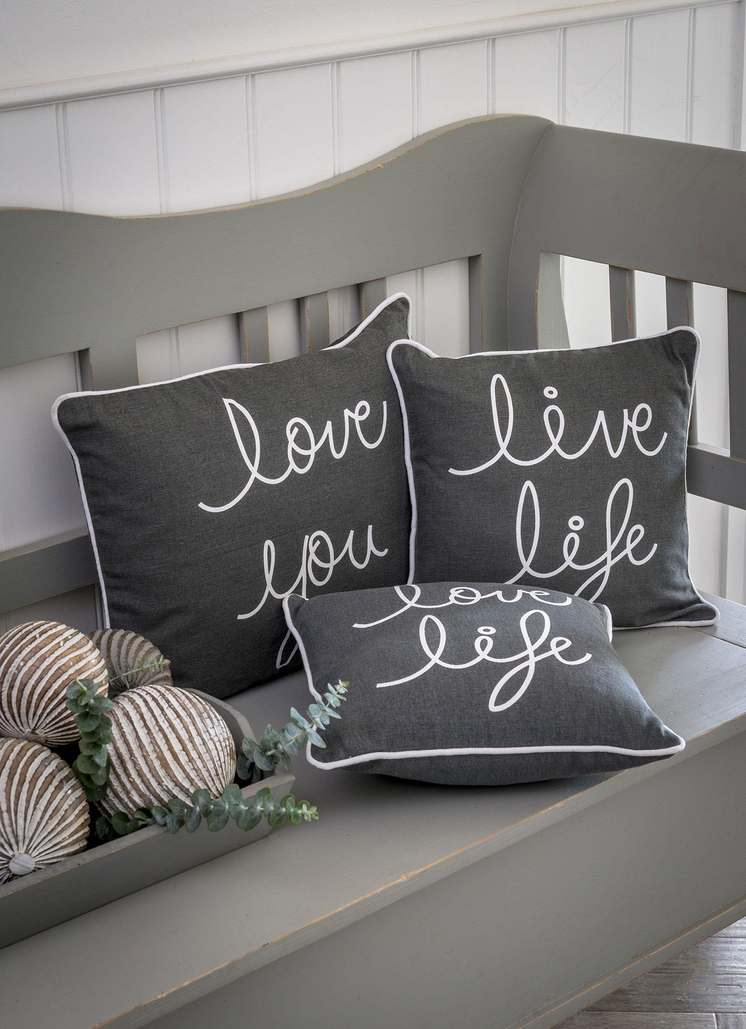 Assorted Small Grey Slogan Cushion