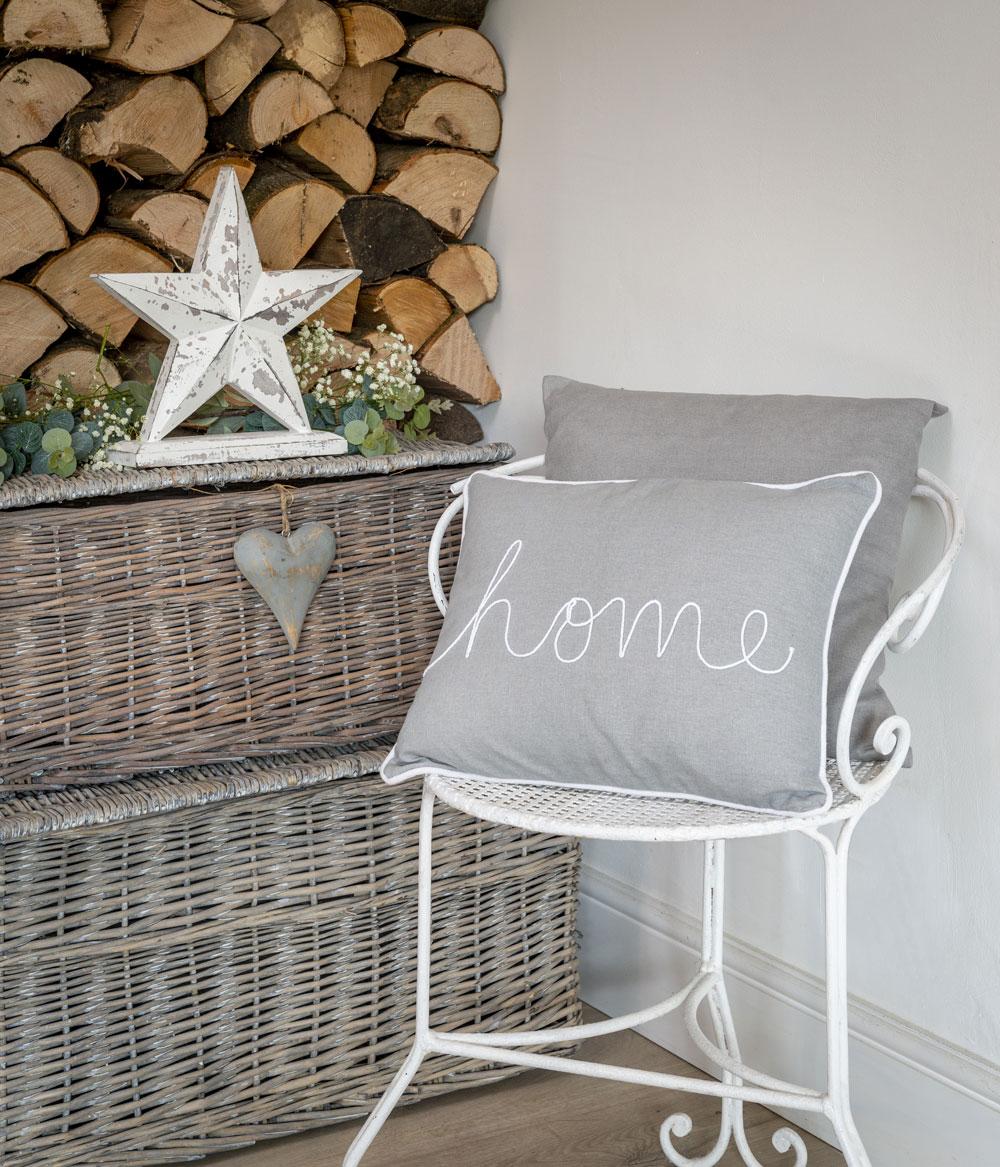 Dove Grey 'Home' Motif Cushion