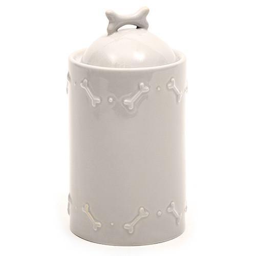 Grey Ceramic Dog Biscuit Jar