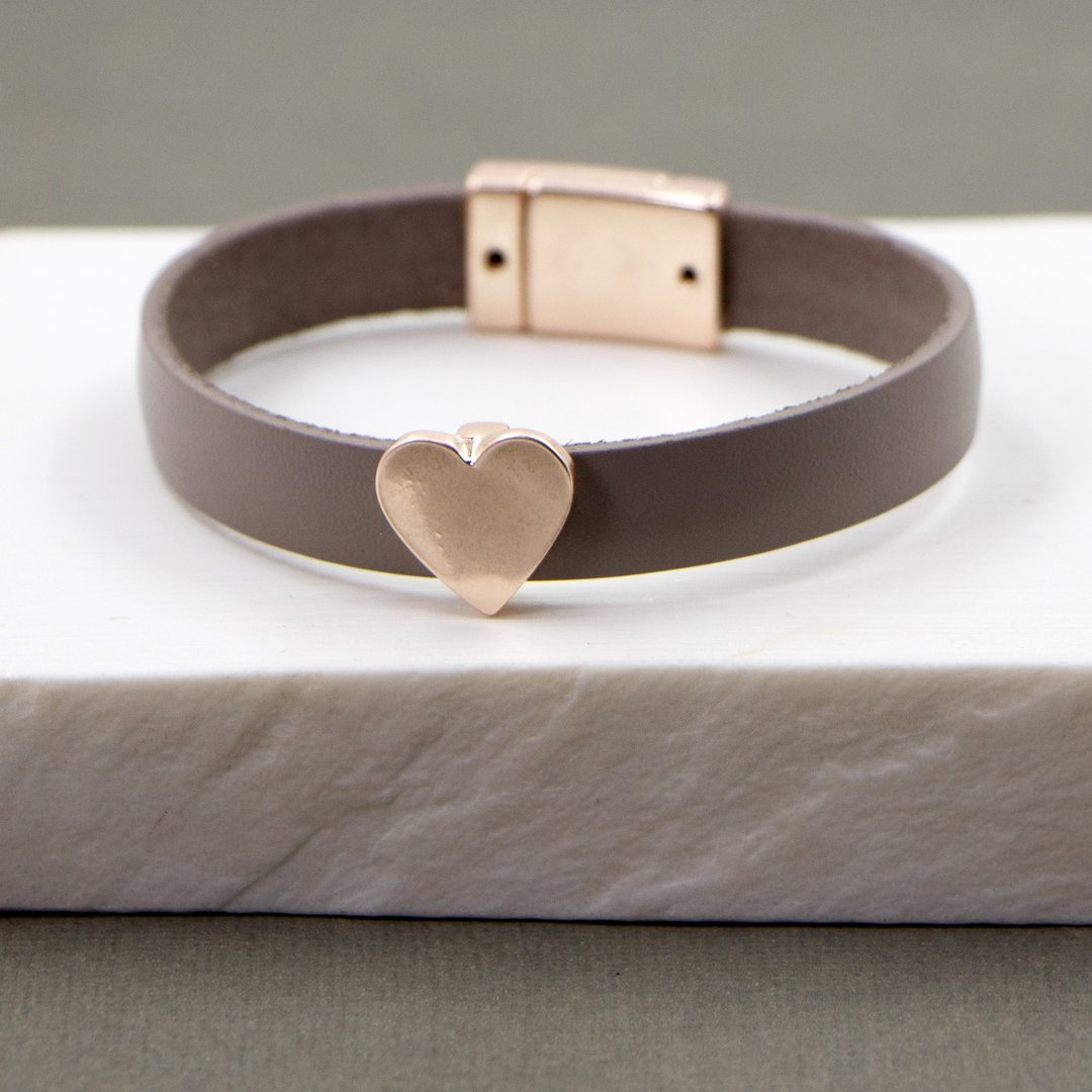 Leather Bracelet with Rose Gold Heart