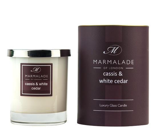 Cassis & White Cedar Glass Candle