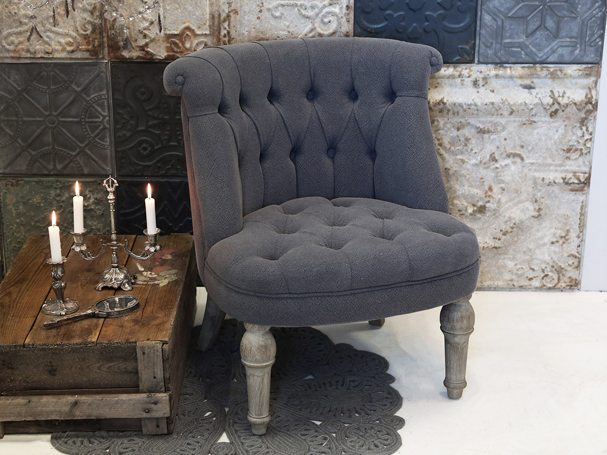 French Grey Linen Armchair