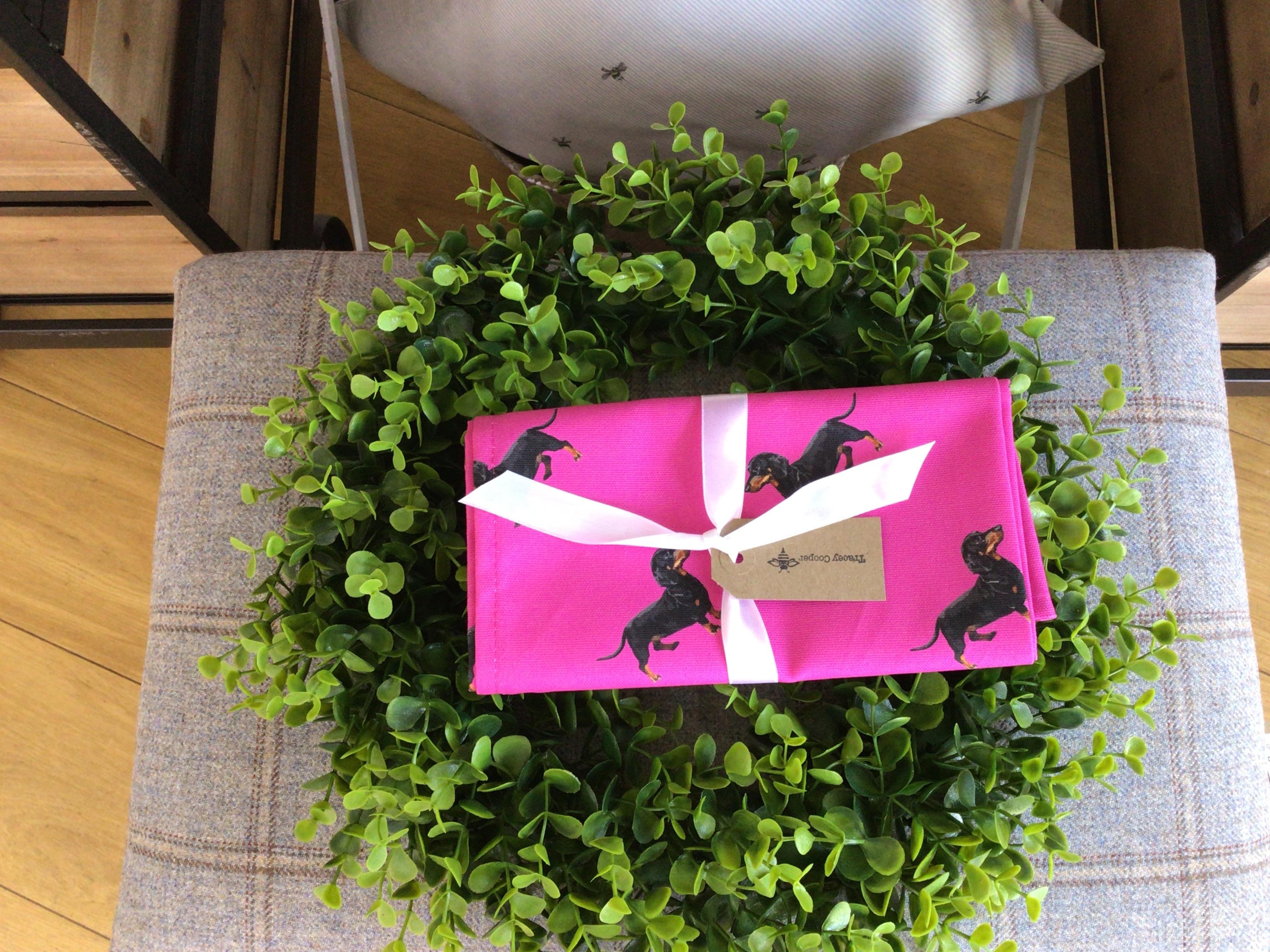 Bright Pink Dachsund Tea Towel
