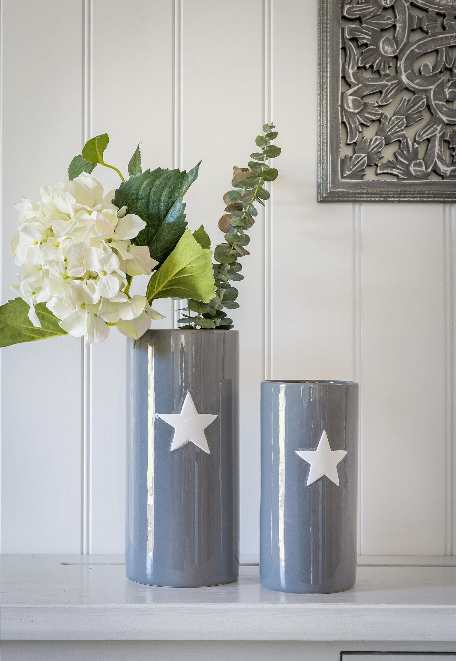 Small Grey Ceramic Star Vase